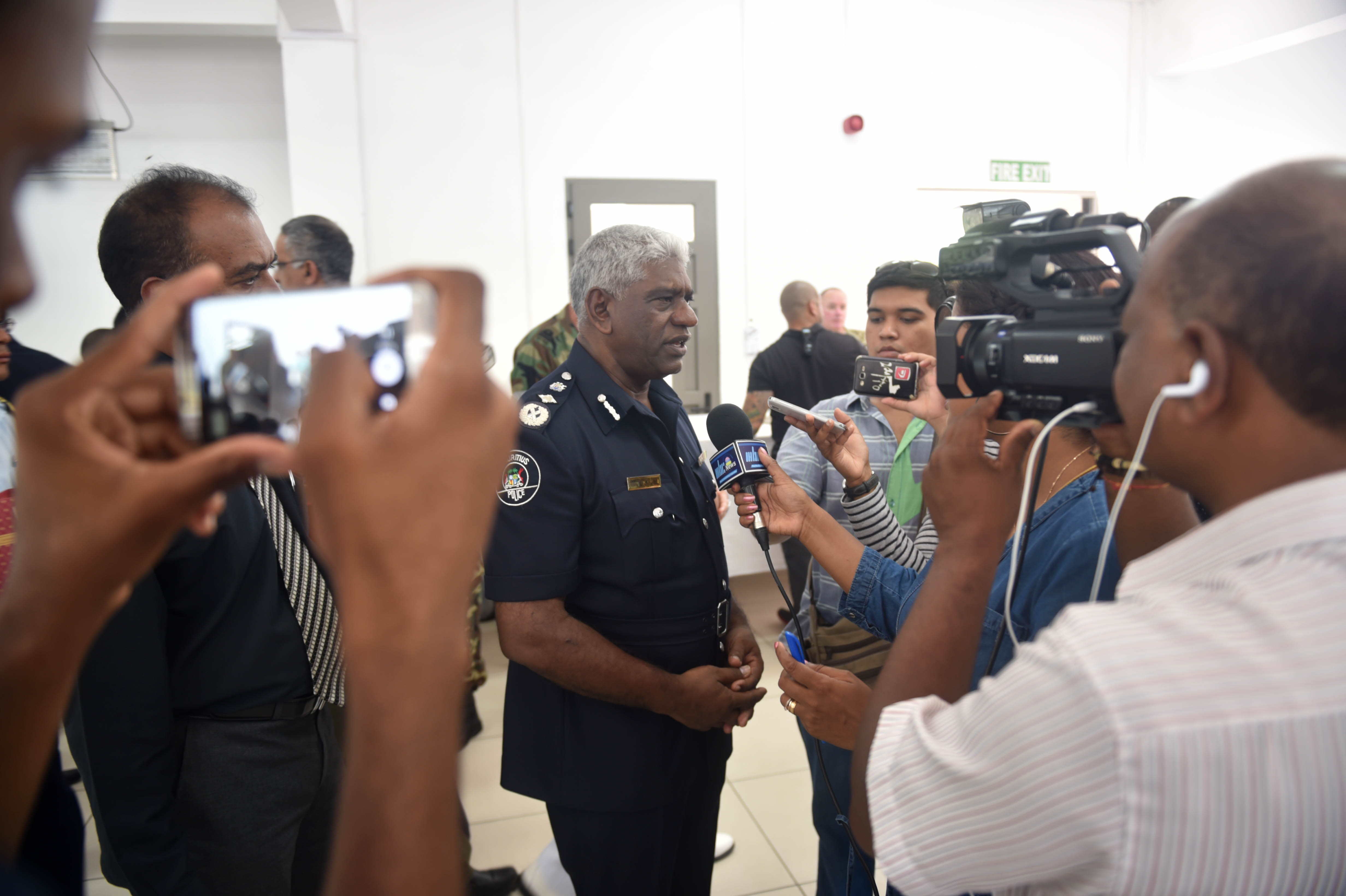 LE CHALAND, Mauritius (Feb. 8, 2017) Karl Mario Nobin, Mauritius Police Force Commissioner, speaks to local media at the Exercise Cutlass Express closing ceremony Feb. 8, 2017. Exercise Cutlass Express 2017, sponsored by U.S. Africa Command and conducted by U.S. Naval Forces Africa, is designed to assess and improve combined maritime law enforcement capacity and promote national and regional security in East Africa. (U.S. Navy photo by Mass Communication Specialist 1st Class Justin Stumberg/Released)