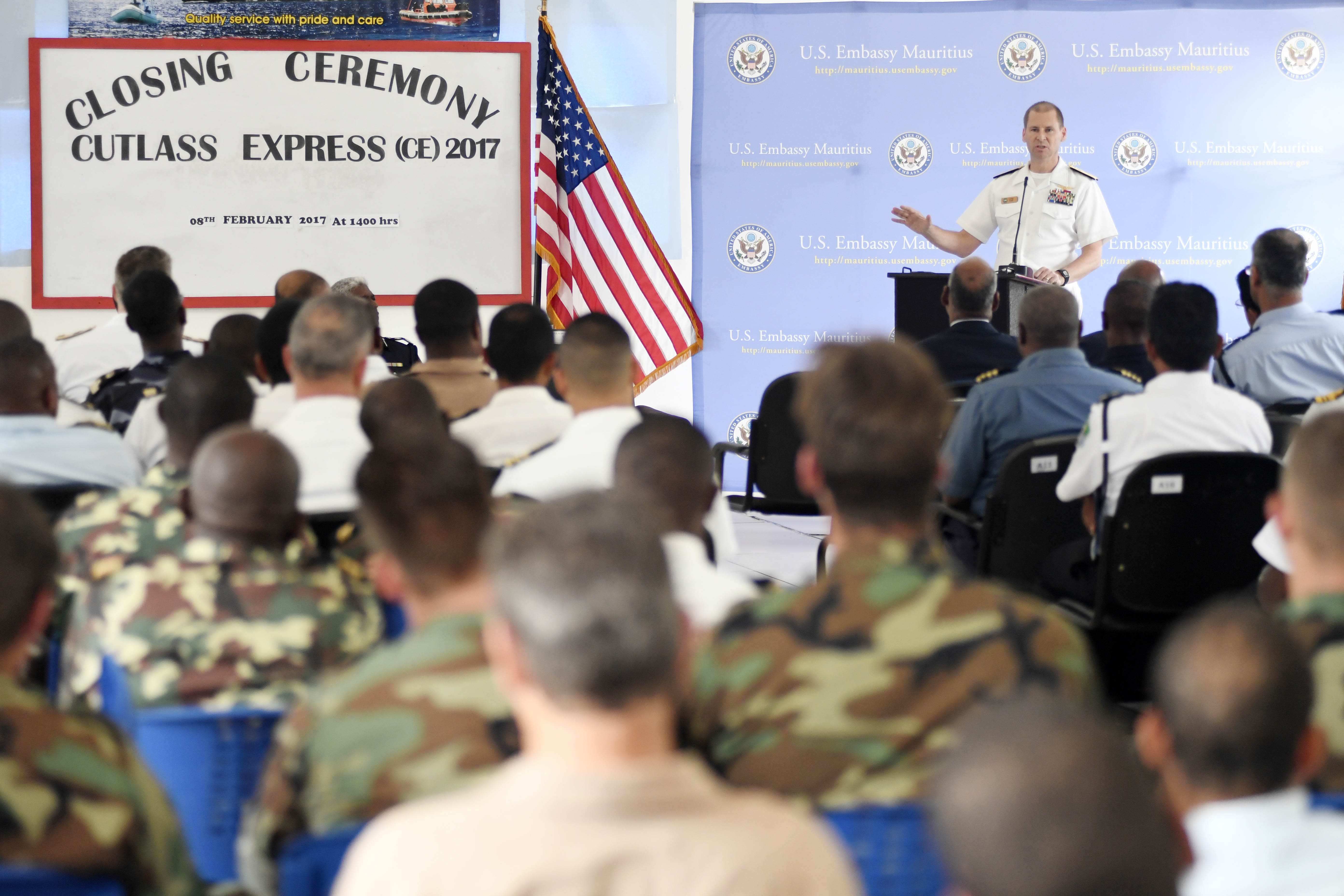 LE CHALAND, Mauritius (Feb. 8, 2017) Rear Adm. Shawn Duane, Vice Commander, U.S. 6th Fleet and Director, Maritime Partner Programs, U.S. Naval Forces Europe-Africa, delivers remarks at the Exercise Cutlass Express closing ceremony Feb. 8, 2017. Exercise Cutlass Express 2017, sponsored by U.S. Africa Command and conducted by U.S. Naval Forces Africa, is designed to assess and improve combined maritime law enforcement capacity and promote national and regional security in East Africa. (U.S. Navy photo by Mass Communication Specialist 1st Class Justin Stumberg/Released)