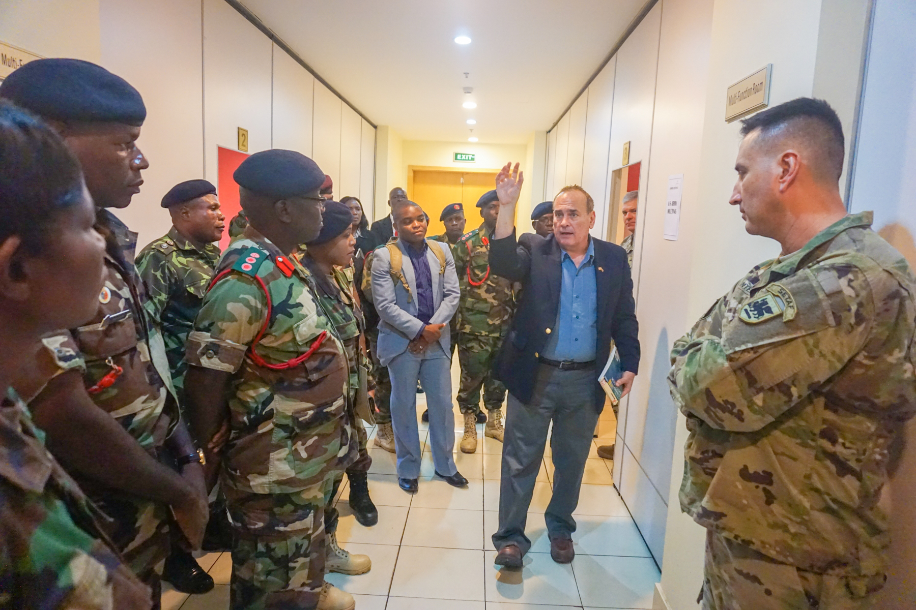 Manuel Melendez, U.S. Army Africa conference planner, briefs U.S. and Malawi military planners at the Bingu Wa Mutharika International Conference Center during the final planning event for the Africa Land Forces Summit 2017, Lilongwe, Malawi, March 27, 2017. ALFS is an annual, weeklong seminar bringing together land force chiefs from across Africa for candid dialog to discuss and develop cooperative solutions to regional and trans-regional challenges and threats.