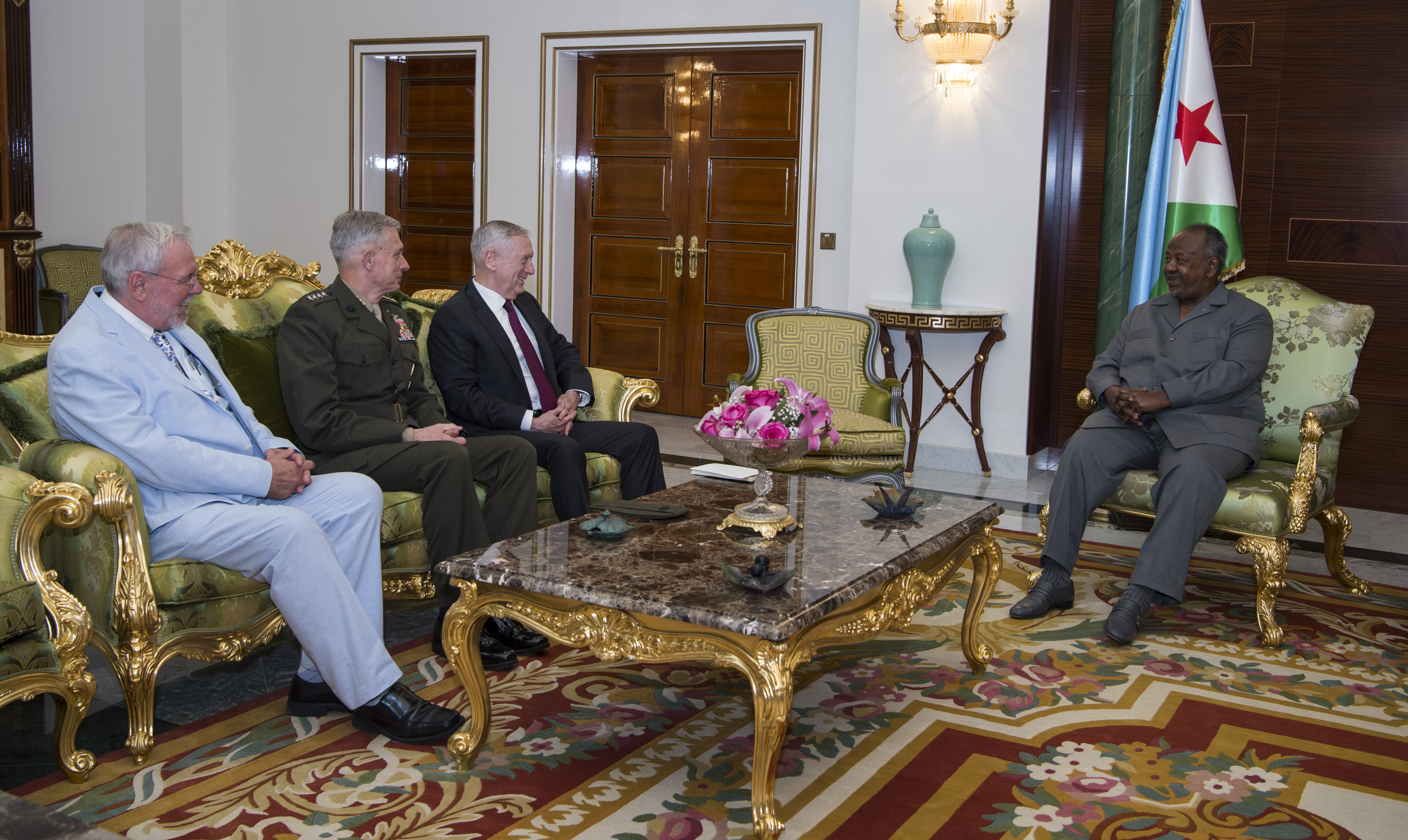 Secretary of Defense Jim Mattis and U.S. Africa Command Commander Gen. Thomas D. Waldhauser meet with Djibouti's President Ismail Omar Guelleh at his presidential palace in Djibouti City, Djibouti, April 23, 2017. (DOD photo by U.S. Air Force Tech. Sgt. Brigitte N. Brantley/Released)