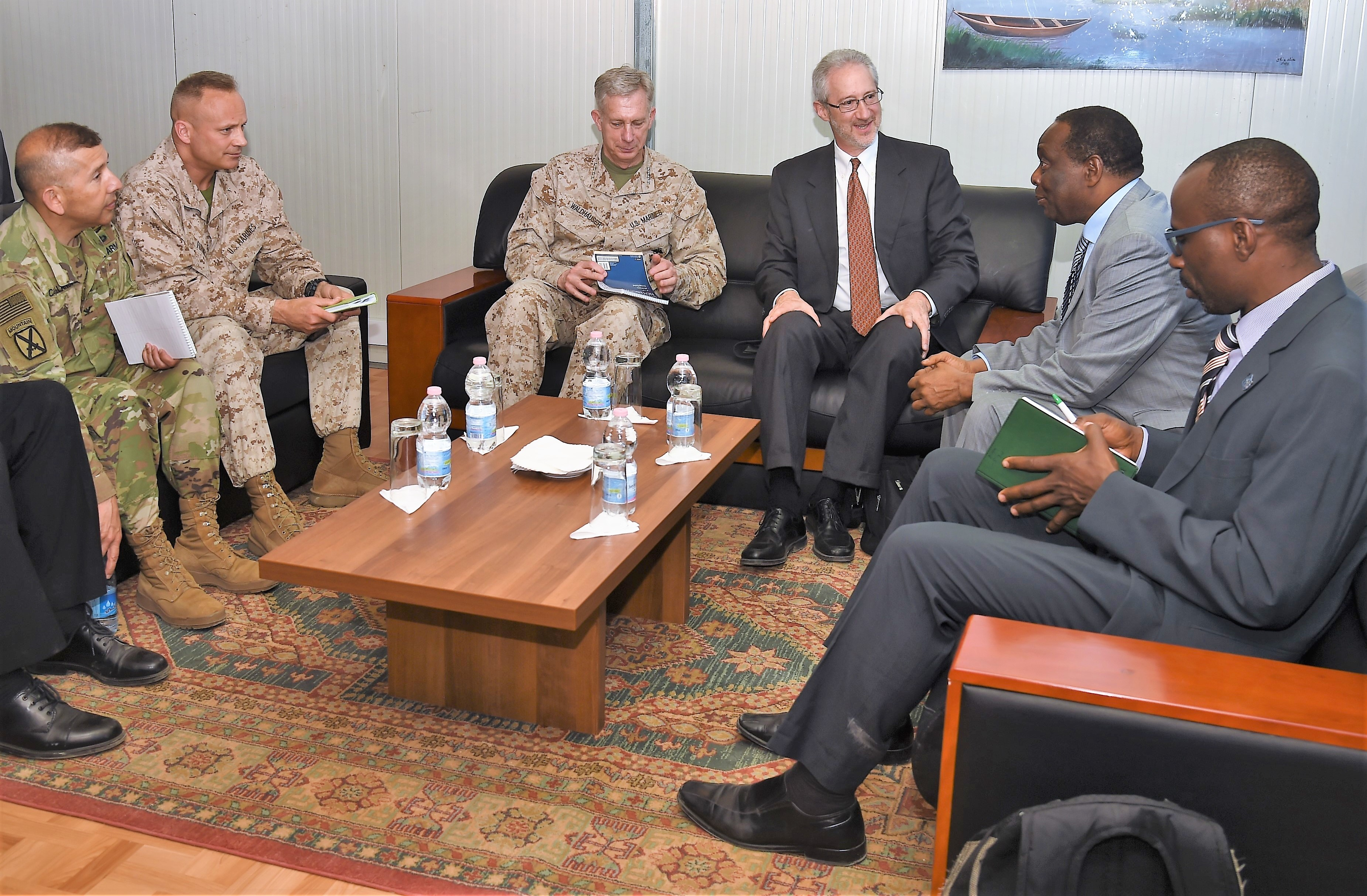 U.S. Africa Command commander U.S. Marine Corps Gen. Thomas D. Waldhauser, and the U.S. Ambassador to Somalia Stephen Schwartz, center, meet with the Special Representative of the Chairperson of the African Union Commission for Somalia Ambassador Francisco Caetano Jose Madeira at Mogadishu International Airport, Somalia, April 29, 2017. Waldhauser has stated that the U.S. and its African partners should bring forward creative and viable solutions to meet the complicated and diverse challenges facing the African continent. (U.S. Air National Guard photo by Tech. Sgt. Andria Allmond/Released)