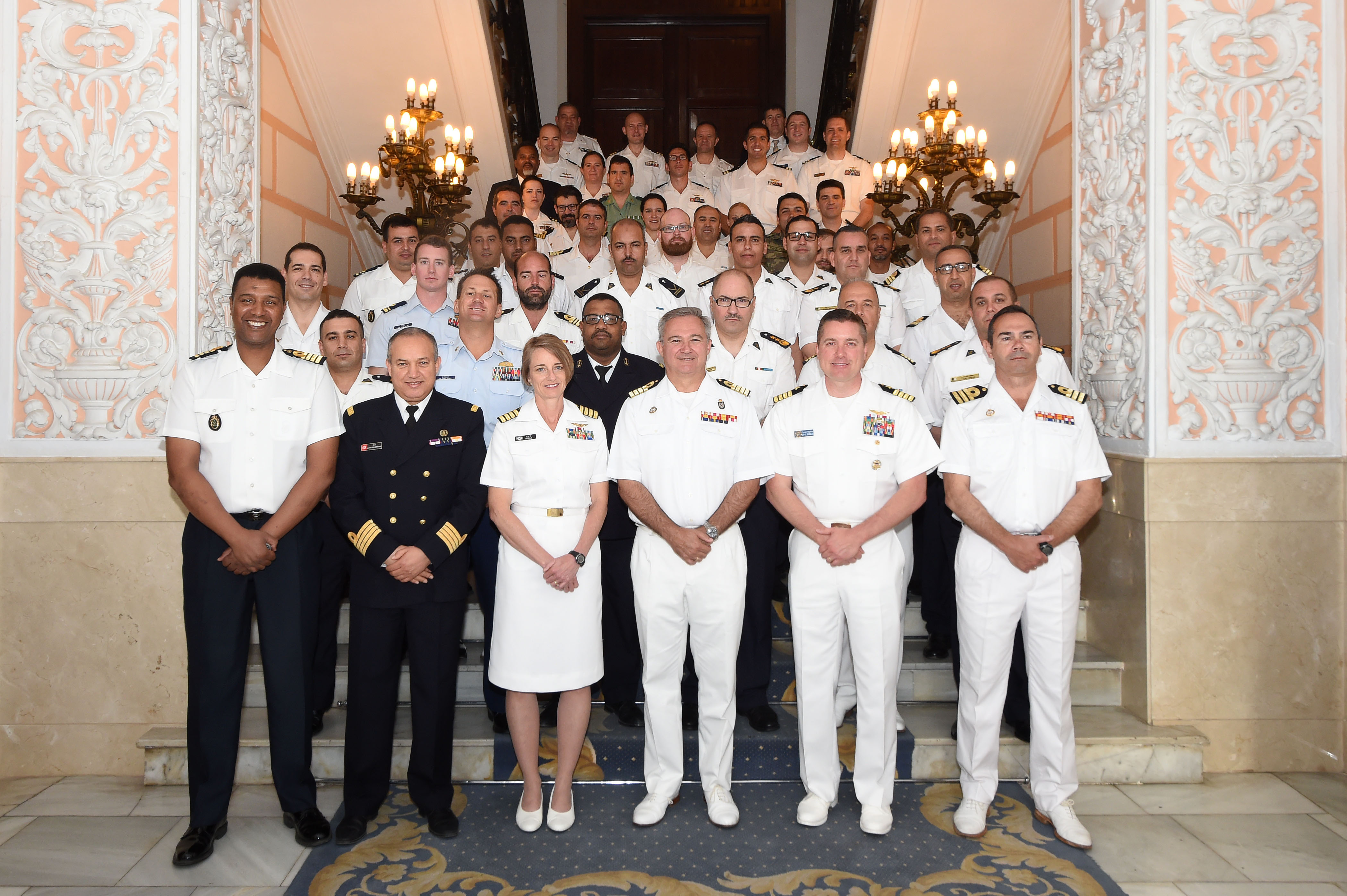 170510-N-XT273-031 CARTAGENA, Spain (May 10, 2017) Exercise Phoenix Express 2017 leadership pose for a group photo after opening ceremonies at the Spanish Naval Base Arsenal de Cartagena May 10, 2017. Phoenix Express, sponsored by U.S. Africa Command and facilitated by U.S. Naval Forces Europe-Africa/U.S. 6th Fleet, is designed to improve regional cooperation, increase maritime domain awareness information sharing practices, and operational capabilities to enhance efforts to achieve safety and security in the Mediterranean Sea.