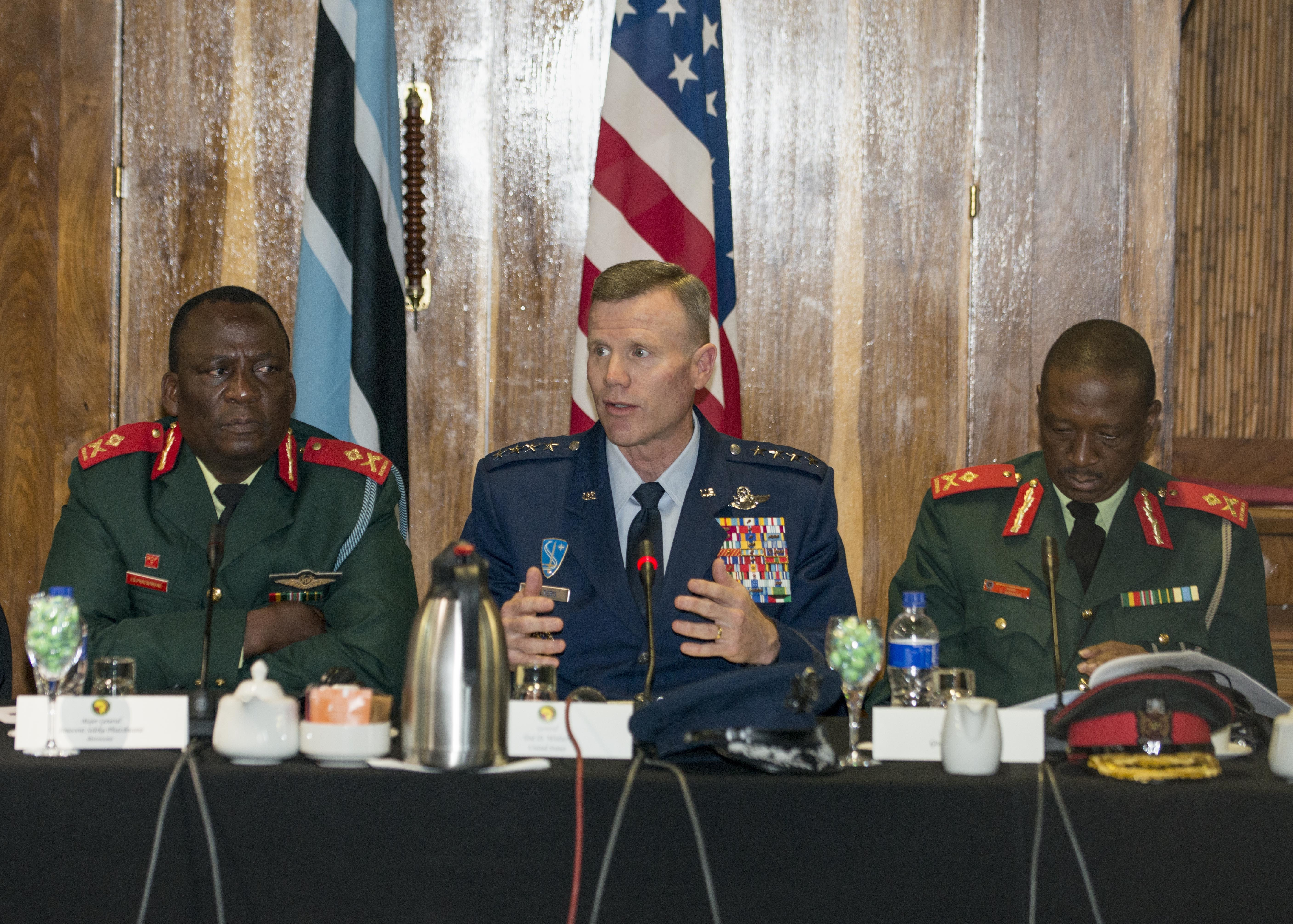 Gen. Tod D. Wolters, U.S. Air Forces in Europe and Air Forces Africa commander, speaks during the opening ceremony of the 2017 African Air Chiefs Symposium in Kasane, Botswana on May 16, 2017. The purpose of the symposium is to create a forum for air chiefs from across the African continent to come together to address regional and continental issues, enhance relationships and increase cooperation. This year's conference will focus on the training aspect of force development. (U.S. Air Force photo by Staff Sgt. Krystal Ardrey/Released)