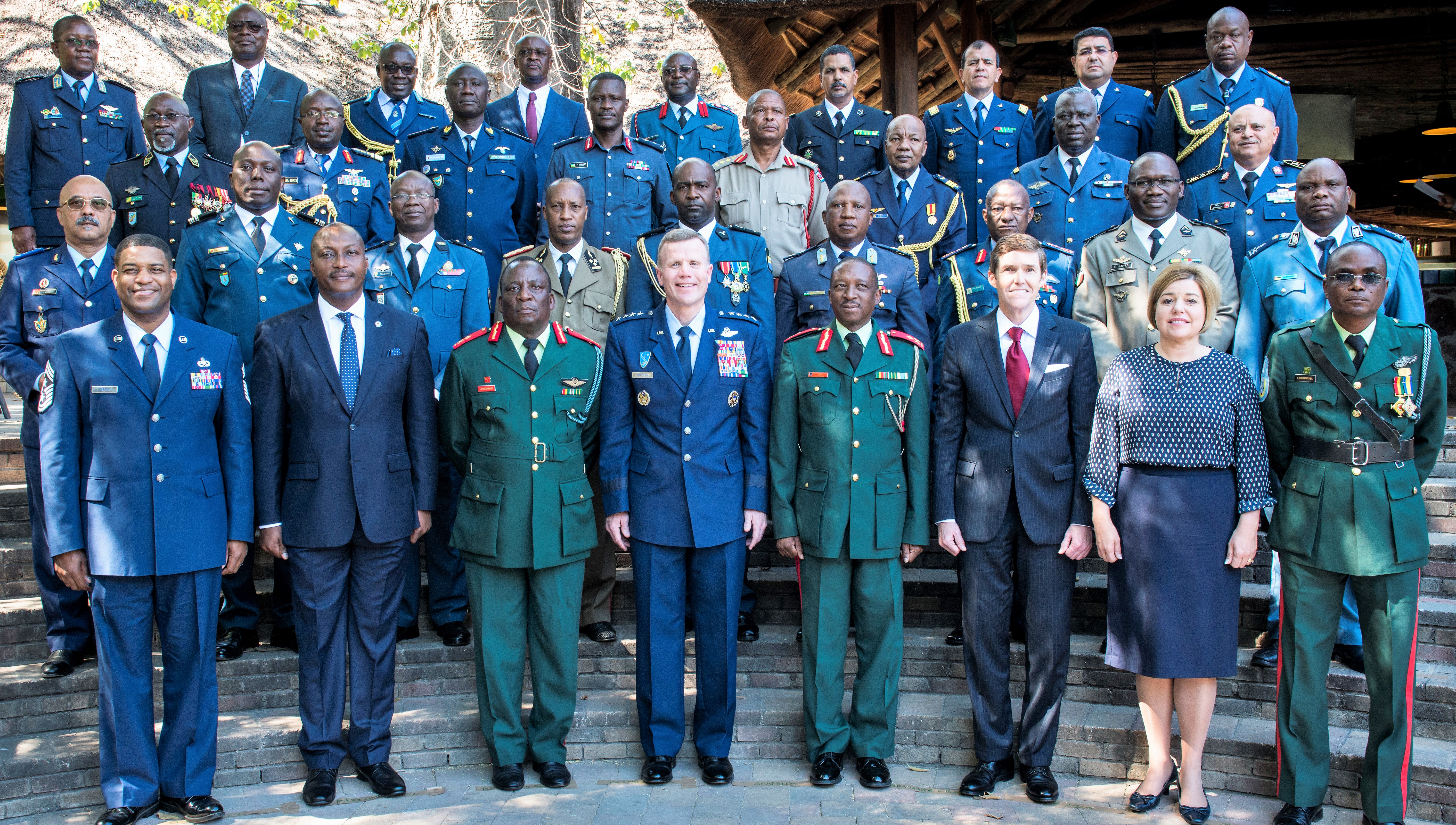 Air chiefs attending the 2017 African Air Chiefs Symposium pose for a group photo in Kasane, Botswana on May 16, 2017. The nations in attendance are Angola, Benin, Botswana, Burkino Faso, Burundi, Chad, Democratic Republic of the Congo, Gabon, Ghana, Keyna, Lesotho, Madagascar, Mali, Malawi, Mauritania, Morocco, Mozambique, Nigeria, Rwanda, Senegal, Seychelles, South Africa, Swaziland, Tanzania, Togo, Tunisa, Uganda, United States of America and Zambia. A representative from the African Union was also in attendance. (U.S. Air Force photo by Staff Sgt. Krystal Ardrey/Released)