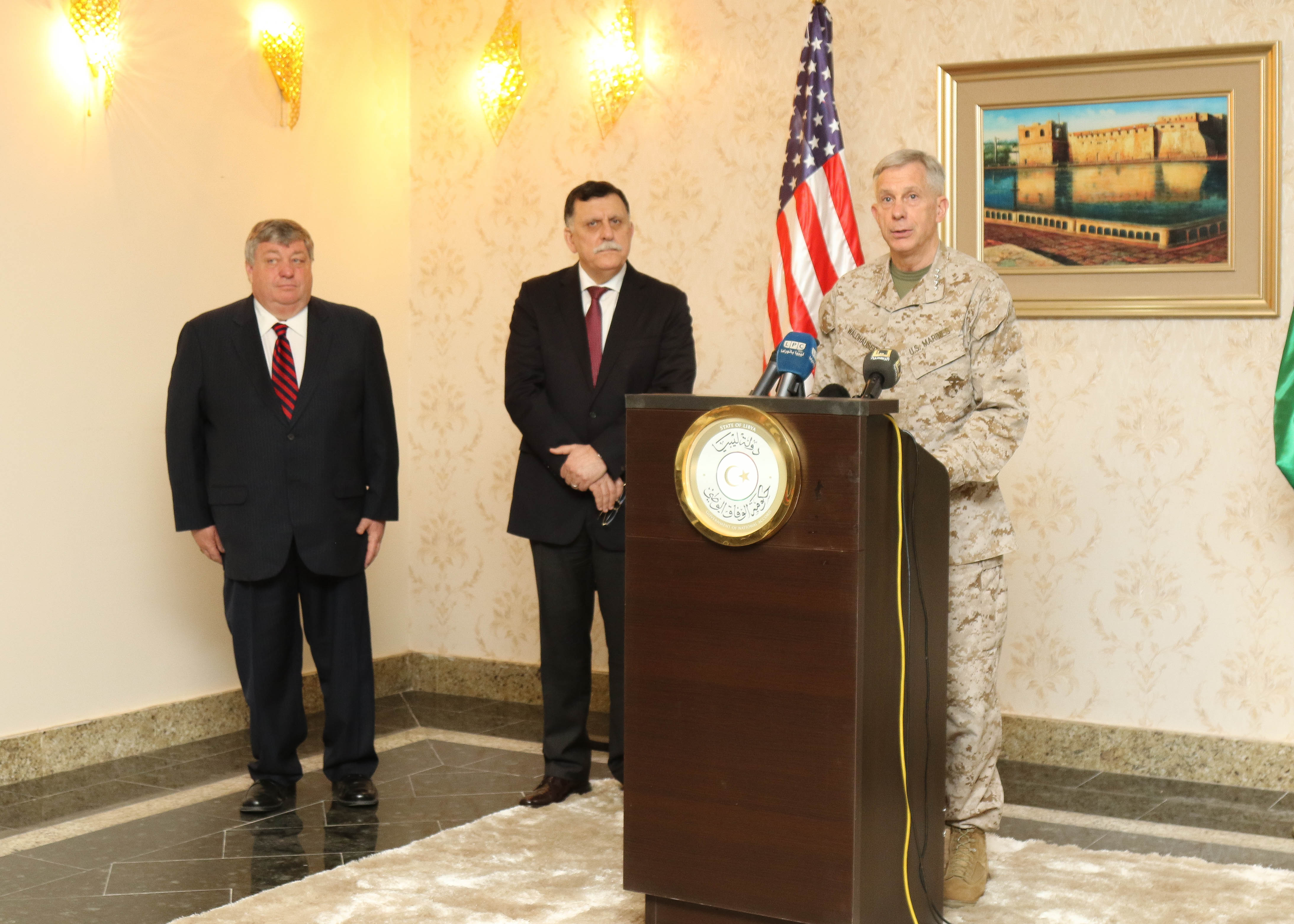 U.S. Marine Corps Gen. Thomas D. Waldhauser, Commander, U.S. Africa Command, spoke during a media engagement hosted by the Prime Minister of Libya's Unity Government Fayez al -Sarraj during a recent visit to Tripoli, Libya May 23, 2017. Waldhauser was joined by Amb. Peter Bodde, U.S. Ambassador to Libya . This marks the first time a a high ranking U.S. military official has been in Libya since 2014.