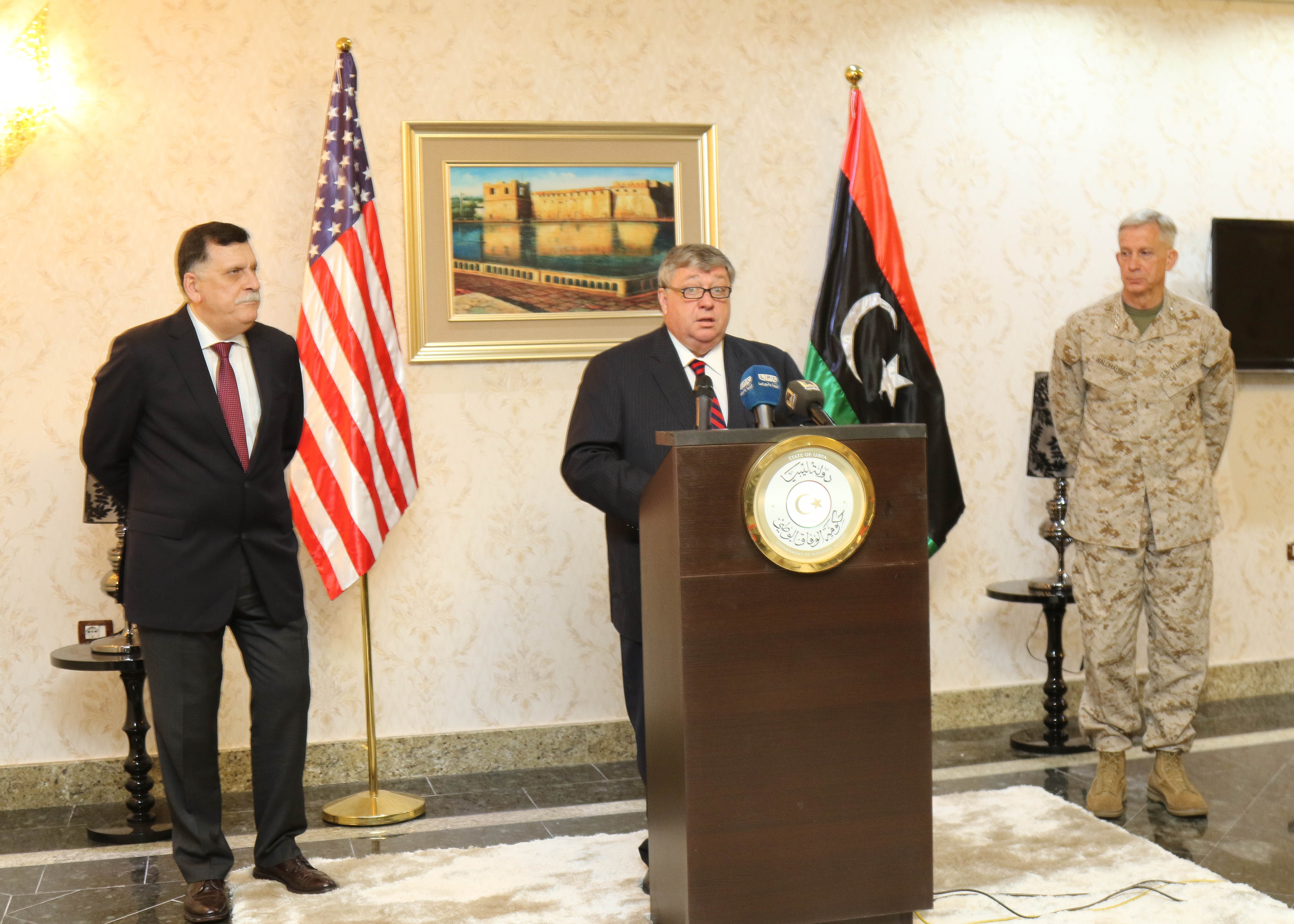 Amb, Peter Bodde, U.S. Ambassador to Libya spoke during a media engagement hosted by the Prime Minister of Libya's Unity Government Fayez al -Sarraj during a recent visit to Tripoli, Libya May 23, 2017. Bodde was joined by U.S. Marine Corps Gen. Thomas D. Walhauser, Commander, U.S. Africa Command. This marks the first time a a high ranking U.S. military official has been in Libya since 2014.