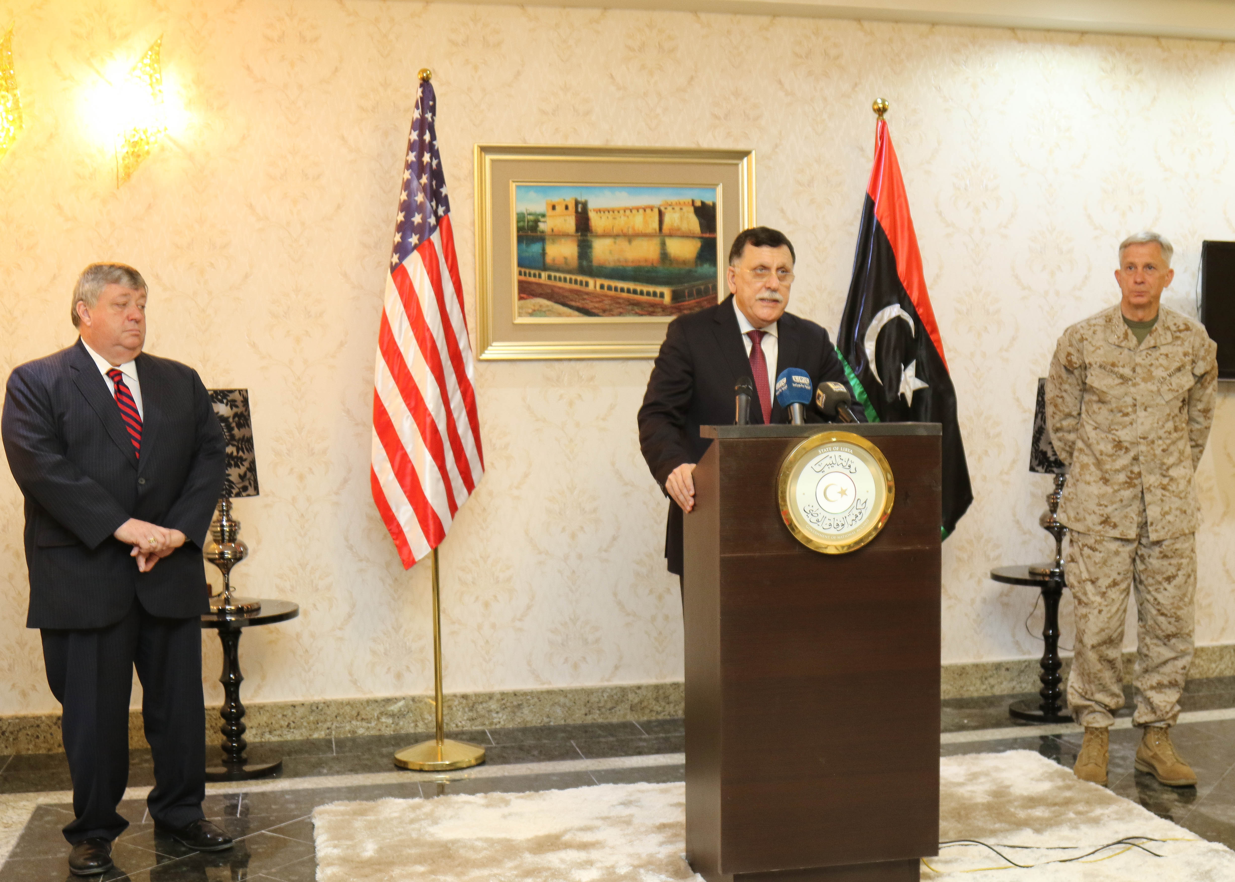 The Prime Minister of Libya's Unity Government Fayez al -Sarraj held a media engagement along with U.S. Marine Corps Gen. Thomas D. Waldhauser, Commander, U.S. Africa Command (USAFRICOM), and Amb. Peter Bodde, U.S. Ambassador to Libya, during their visit to Tripoli, Libya May 23, 2017. This marks the first time a a high ranking U.S. military official has been in Libya since 2014.