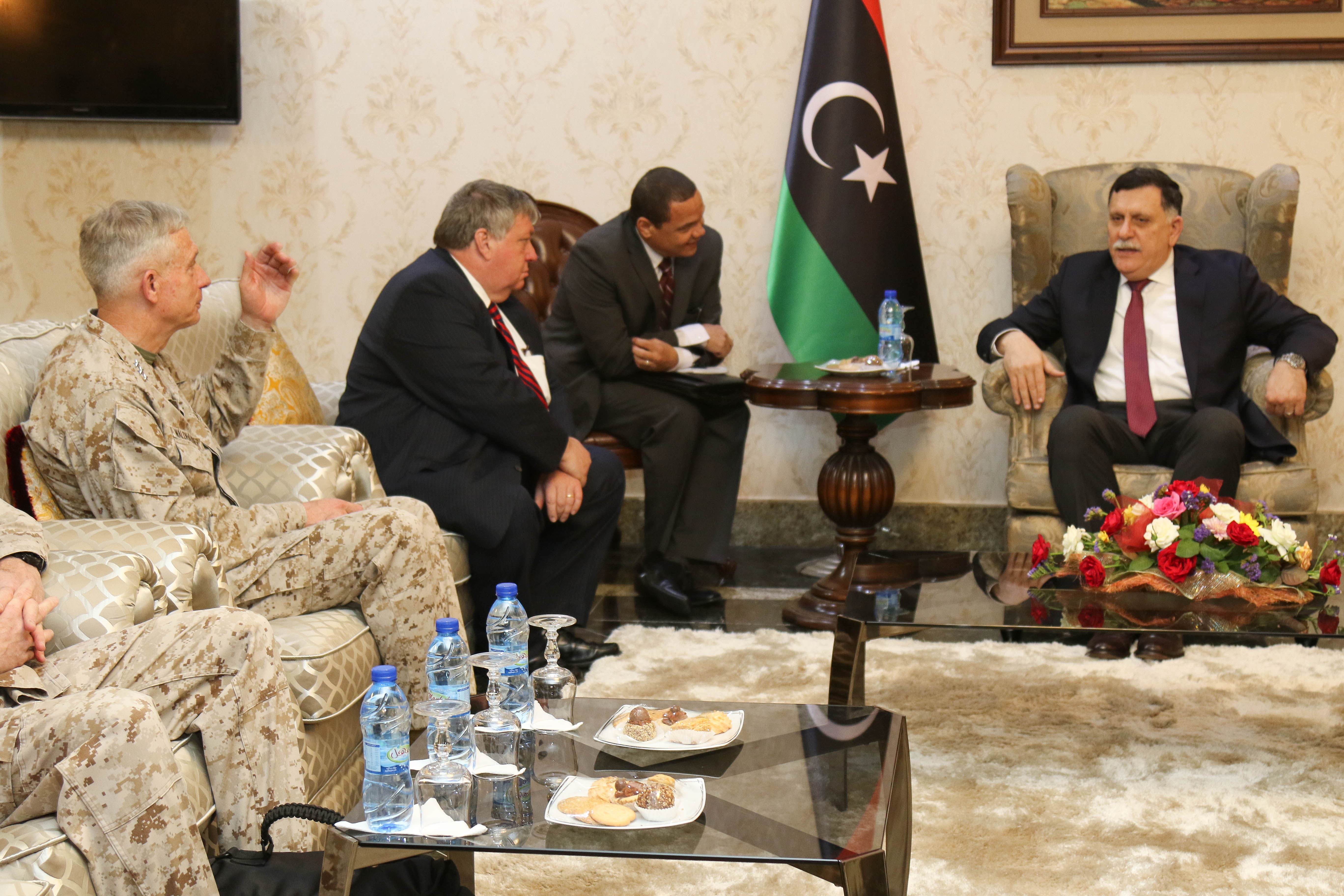 U.S. Marine Corps Gen. Thomas D. Waldhauser, Commander, U.S. Africa Command (USAFRICOM), and Amb. Peter Bodde, U.S. Ambassador to Libya, meets with Fayez al-Sarraj the Prime Minister of Libya's Unity Government, during a recent visit to Tripoli, Libya May 23, 2017. This marks the first time a a high ranking U.S. military official has been in Libya since 2014.
