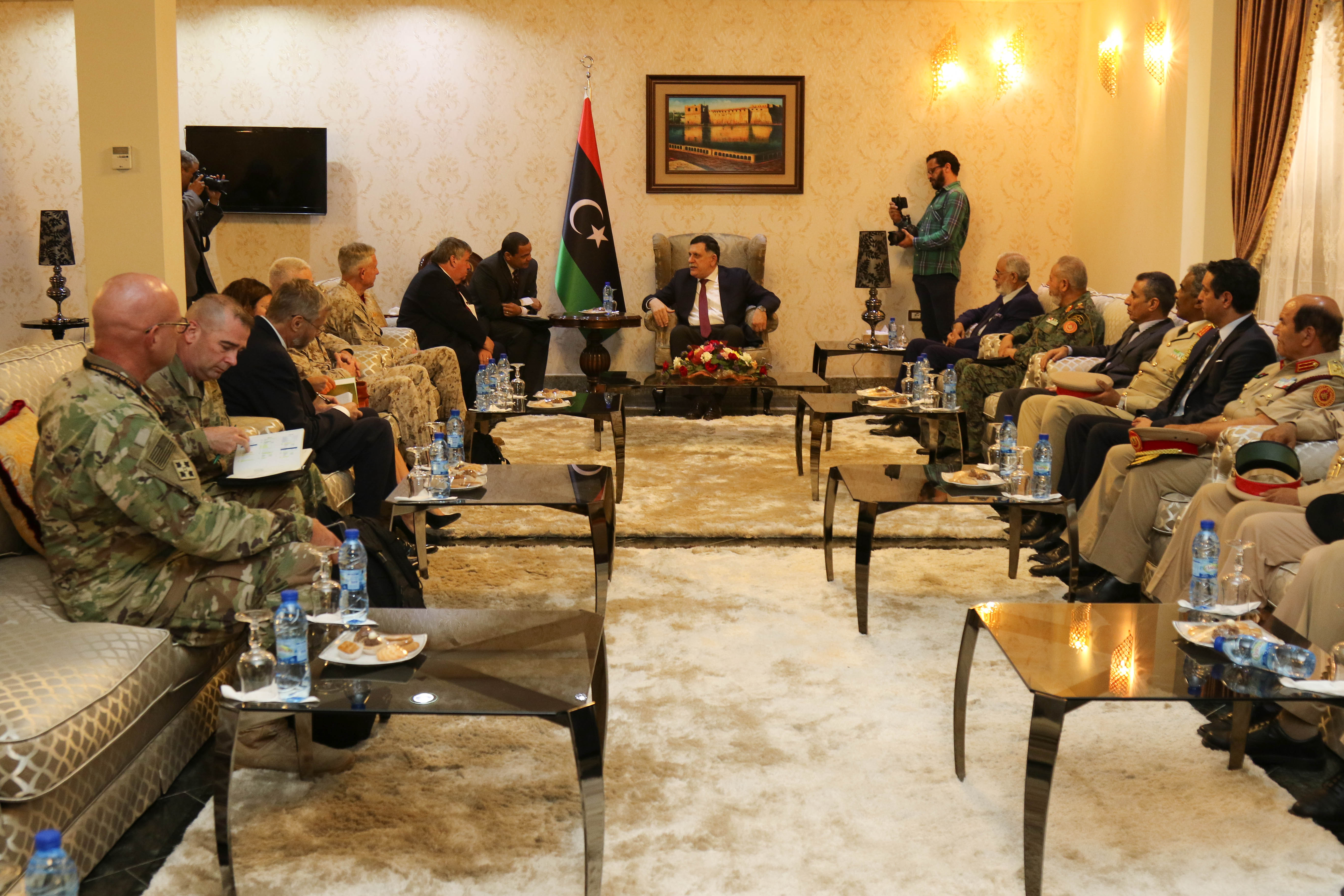 U.S. Marine Corps Gen. Thomas D. Waldhauser, Commander, U.S. Africa Command, Amb. Peter Bodde, U.S. Ambassador to Libya, meets with Fayez al-Sarraj the Prime Minister of Libya's Unity Government, and other government officials during a recent visit to Tripoli, Libya May 23, 2017. This marks the first time a a high ranking U.S. military official has been in Libya since 2014.