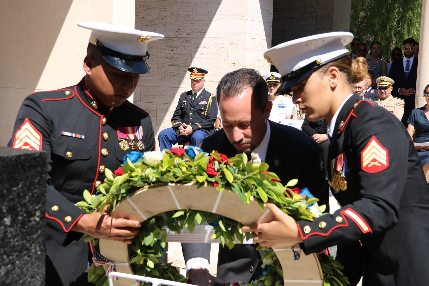 Amb. Daniel Rubinstein, U.S. Ambassador to Tunisia, lays a wreath during the Memorial Day ceremony at the North Africa American Cemetery and Memorial in Carthage, Tunisia May 29, 2017. (U.S. Embassy Tunis photo by Zouhair Sfaxi/Released)