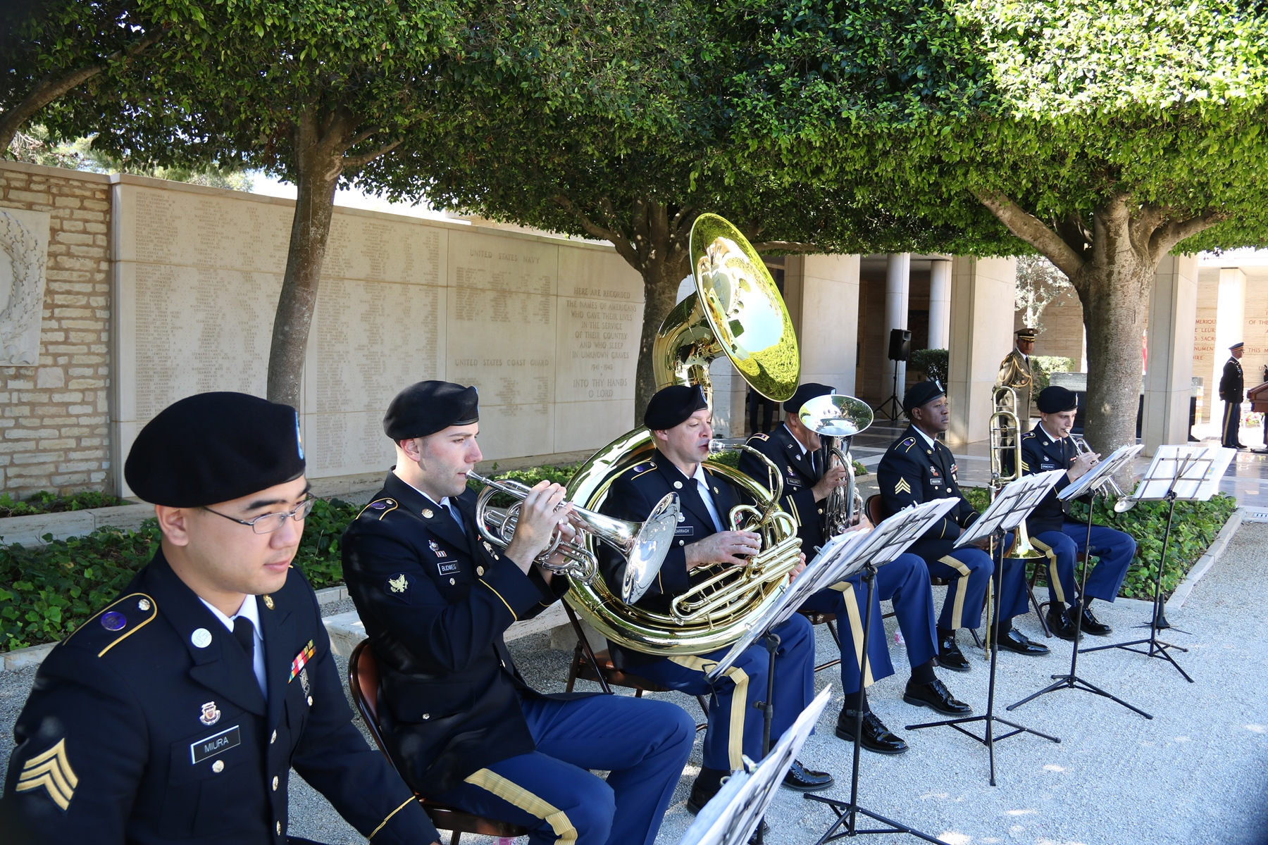 Musicians from the Wyoming National Guard band provide ceremonial music during the Memorial Day ceremony at the North Africa American Cemetery and Memorial in Carthage, Tunisia May 29, 2017. The Wyoming National Guard is partnered with the Tunisian military as part of the U.S. National Guard's State Partnership Program. (U.S. Embassy Tunis photo by Zouhair Sfaxi/Released)