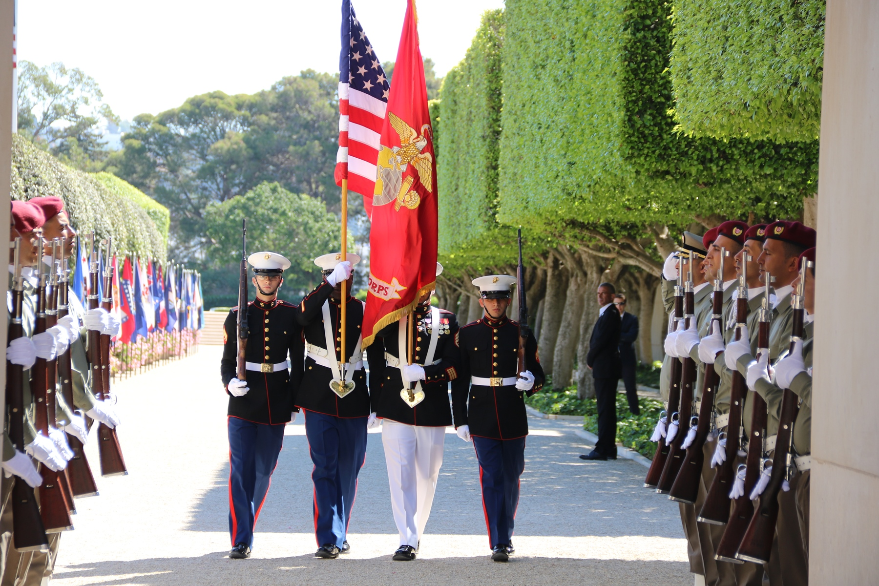 A U.S. Marine Corps Honor Guard presents the colors during the Memorial Day ceremony at the North Africa American Cemetery and Memorial in Carthage, Tunisia May 29, 2017. (U.S. Embassy Tunis photo by Zouhair Sfaxi/Released)