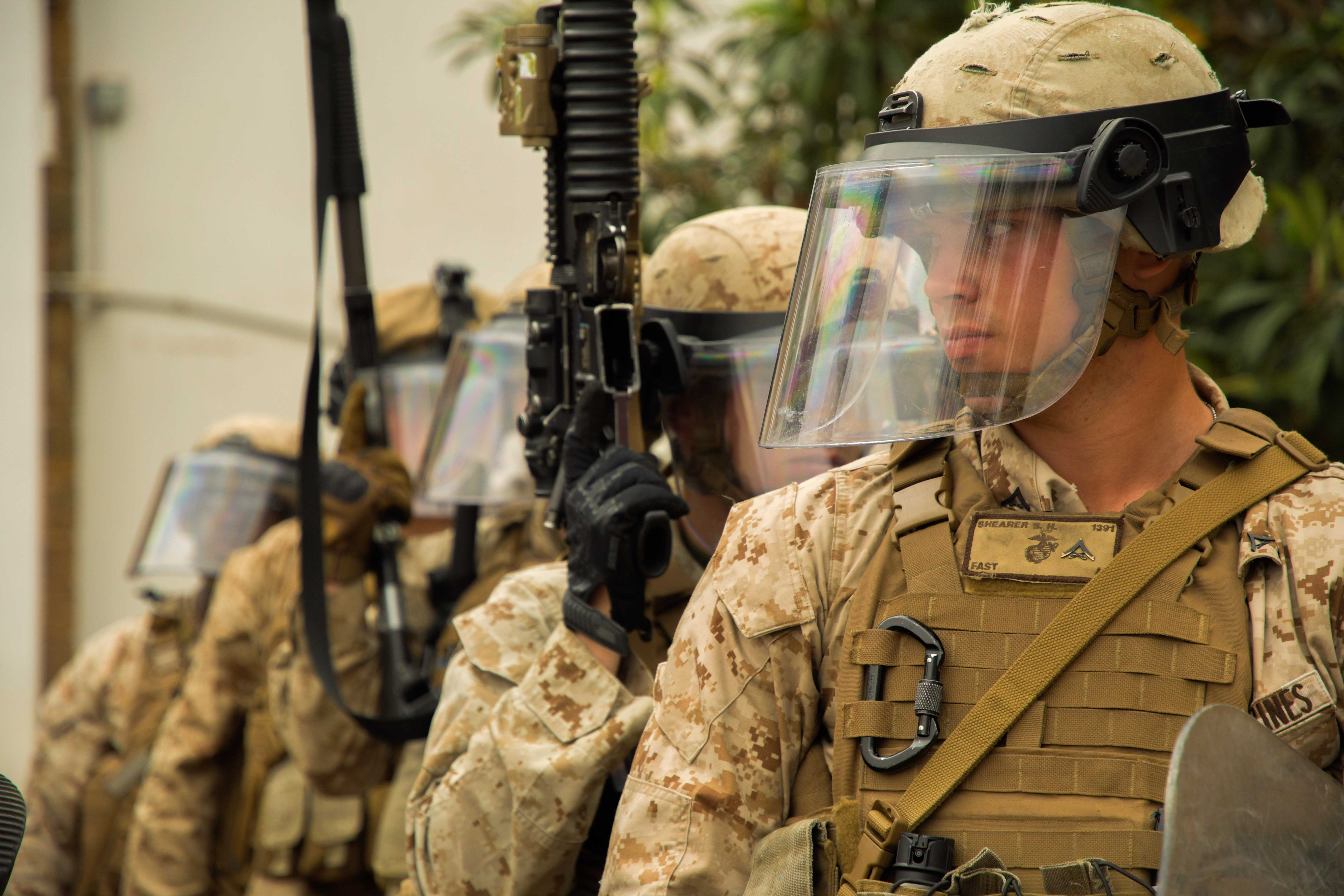 170525-N-UJ417-060 RABAT, Morocco (May 25, 2017) Marine Lance Corporal Samuel Shearer, second team leader, first squad in Alpha Company 1st Platoon Fleet Anti-terrorism Security Team, Company Europe  (FASTEUR), forms up a column of Marines during a Non-Lethal Combatant techniques demonstration for Moroccan police in Rabat, Morocco. FASTEUR was in Rabat training with Moroccan Police during the first embassy training exercise within AFRICOM to strengthen interoperability with host nation response forces and prepare a coordinated response plan for any unforeseen emergency. (U.S. Navy photo by Mass Communication Specialist 2nd Class Russell R. Rhodes Jr./Released)