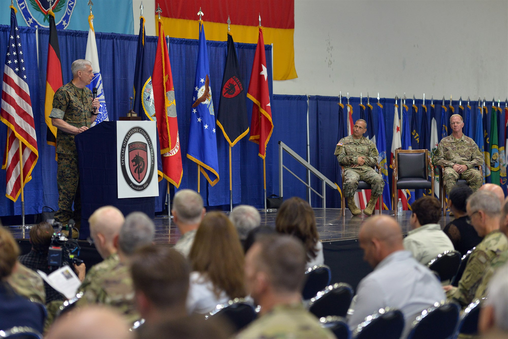 U.S. Marine Corps Gen. Thomas D. Waldhauser, commander of U.S. Africa Command, speaks during a change of command ceremony for Special Operations Command Africa at Kelley Barracks, Stuttgart, Germany, June 29, 2017. Special Operations Command Africa supports U.S. Africa Command by counter violent extremist organizations, building the military capacity of key partners in Africa and protecting U.S. personnel and facilities. (U.S. Army photo by Visual Information Specialist Jason Johnston.)