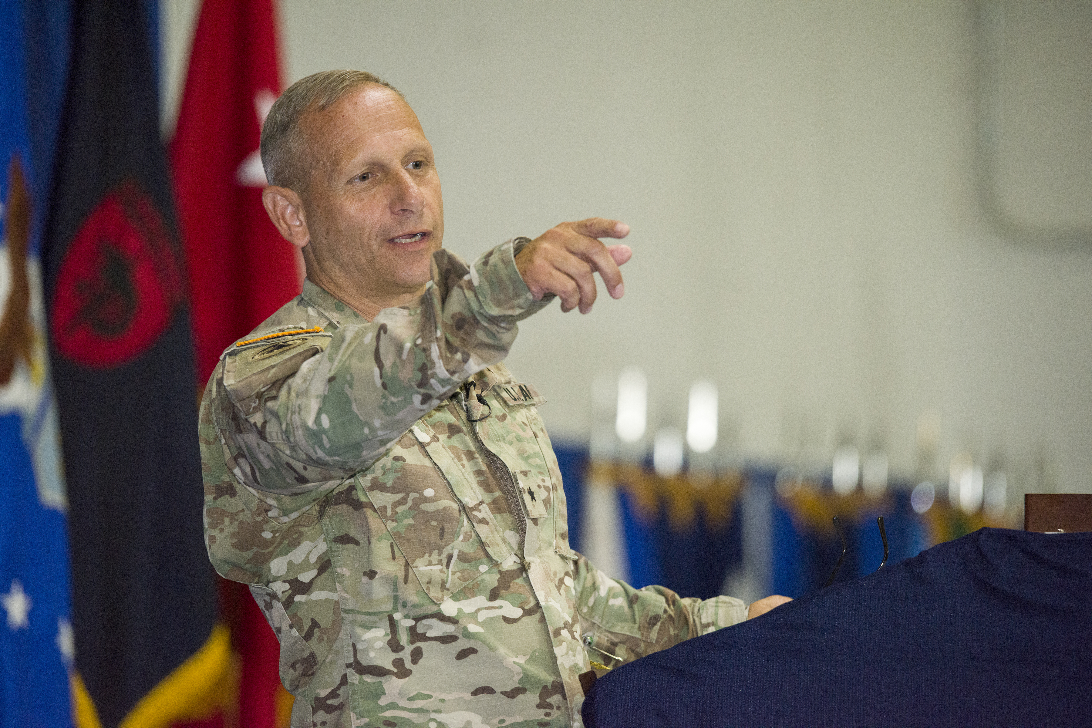 U.S. Army Brig. Gen. Donald C. Bolduc, outgoing commander of Special Operations Command Africa, speaks during a change of command ceremony at Kelley Barracks, Stuttgart, Germany, June 29, 2017. Bolduc was succeeded by U.S. Air Force Maj. Gen. J. Marcus Hicks. Special Operations Command Africa supports U.S. Africa Command by counter violent extremist organizations, building the military capacity of key partners in Africa and protecting U.S. personnel and facilities. (U.S. Army photo by Visual Information Specialist Eric Steen)