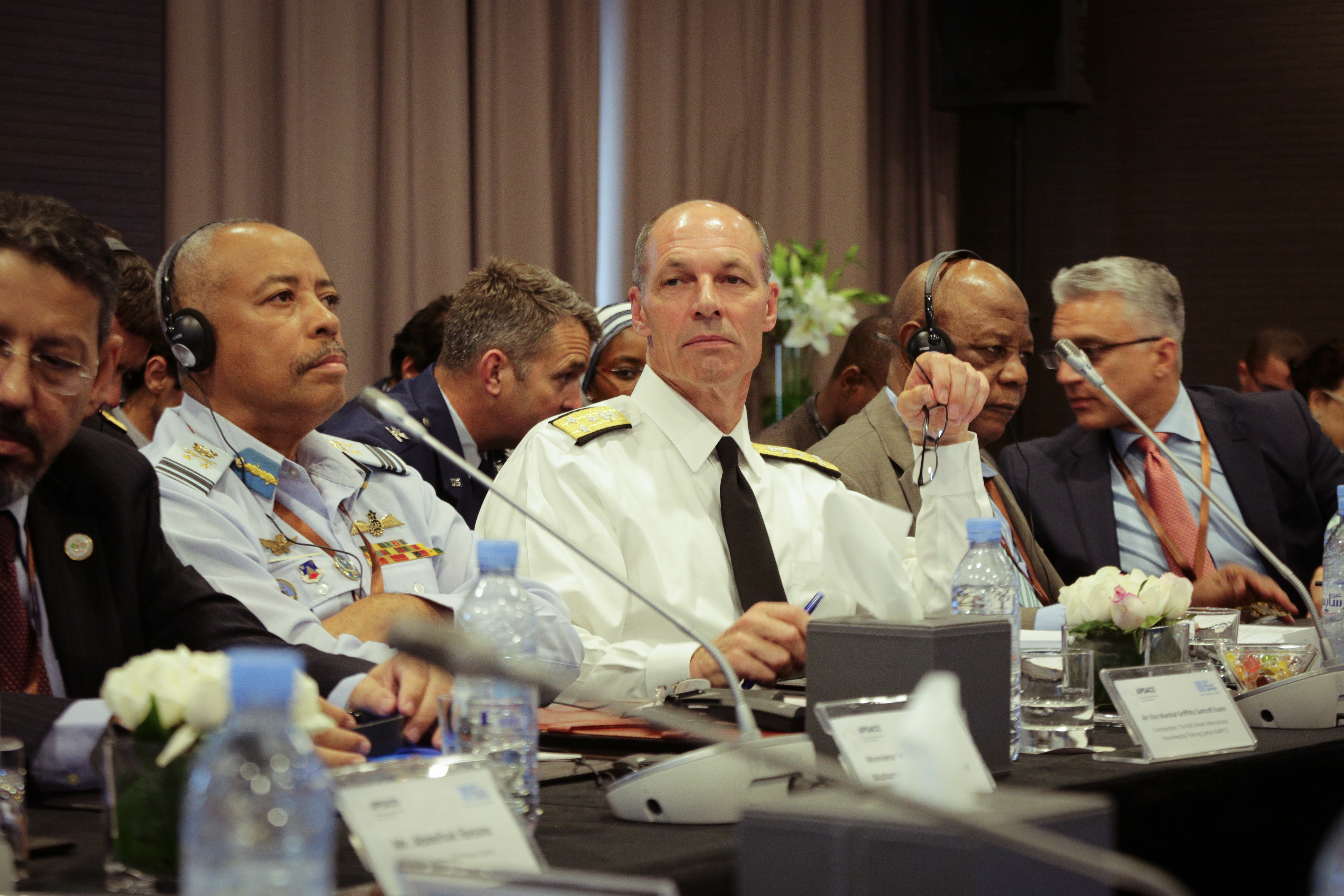 Vice Adm. Michael Franken, Deputy to the Commander for Military Operations, participates in a session during the OCP Policy Center's African Peace and Security Annual Conference in Rabat, Morocco July 9-11, 2017.