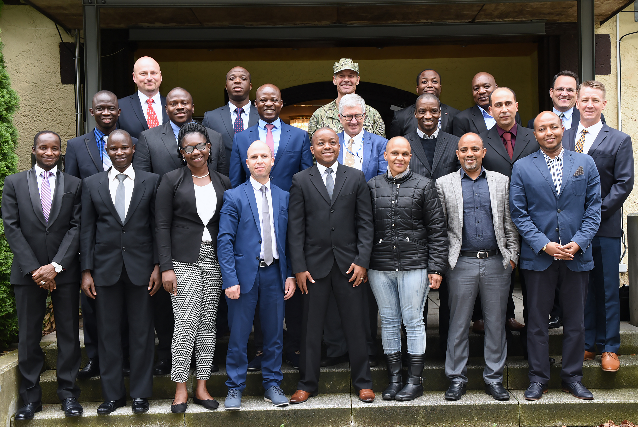 STUTTGART, Germany (July 26, 2017) – Sixteen military and civilian leaders from 13 African countries met with AFRICOM officials to discuss U.S. military involvement on the African continent during a visit to the U.S. Africa Command in Stuttgart July 26. This field trip was part of the Program on Terrorism and Security Studies held at the George C. Marshall European Center for Security Studies in Garmisch-Partenkirchen, Germany. (Marshall Center photo by Christine June)