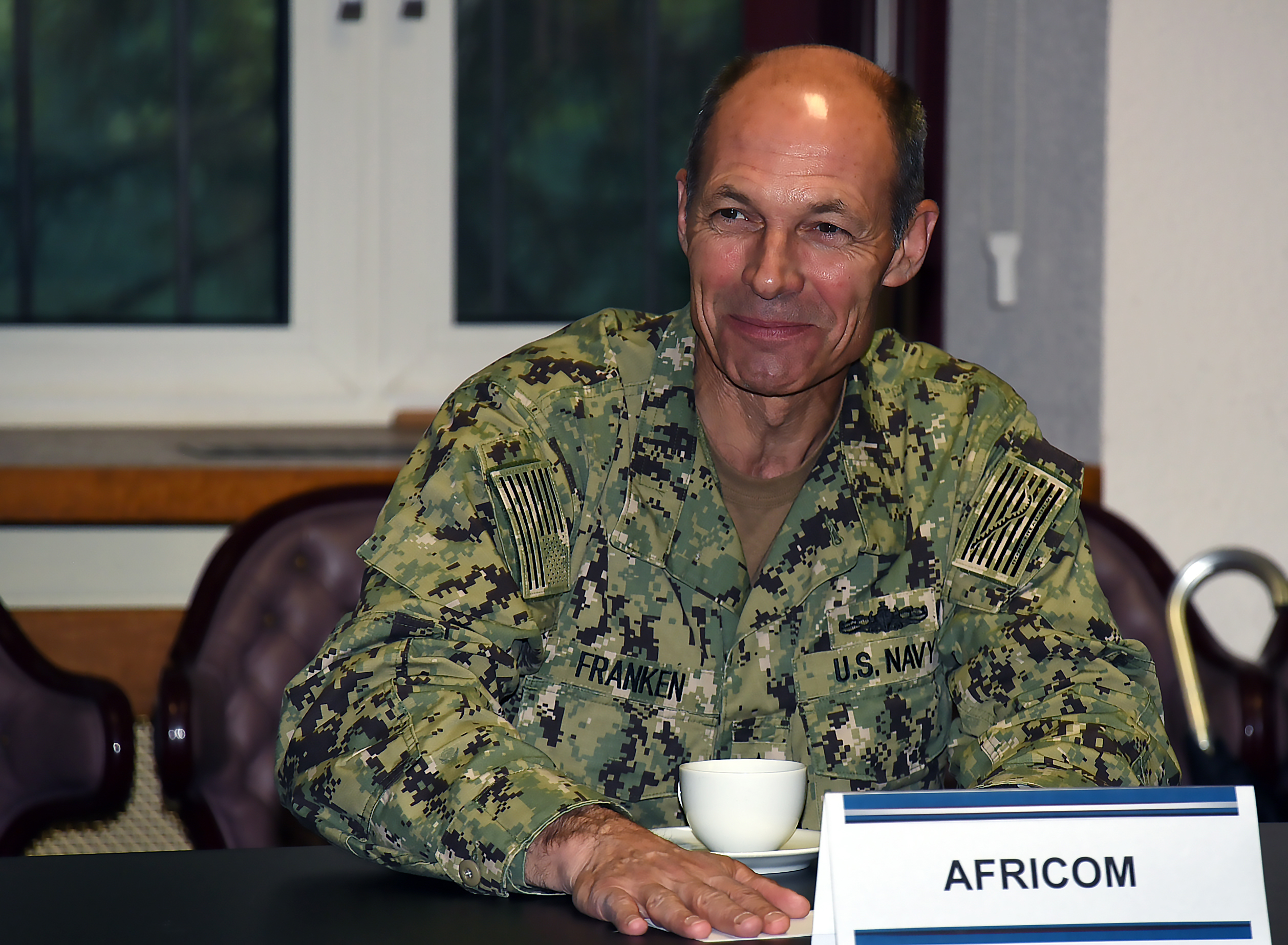 STUTTGART, Germany (July 26, 2017) – U.S. Navy Vice Adm. Michael Franken, deputy to the Commander for Military Operations for the U.S. Africa Command, answers questions by 16 military and civilian leaders during their visit to AFRICOM in Stuttgart July 26. This field trip was part of the Program on Terrorism and Security Studies held at the George C. Marshall European Center for Security Studies in Garmisch-Partenkirchen, Germany. (Marshall Center photo by Christine June)