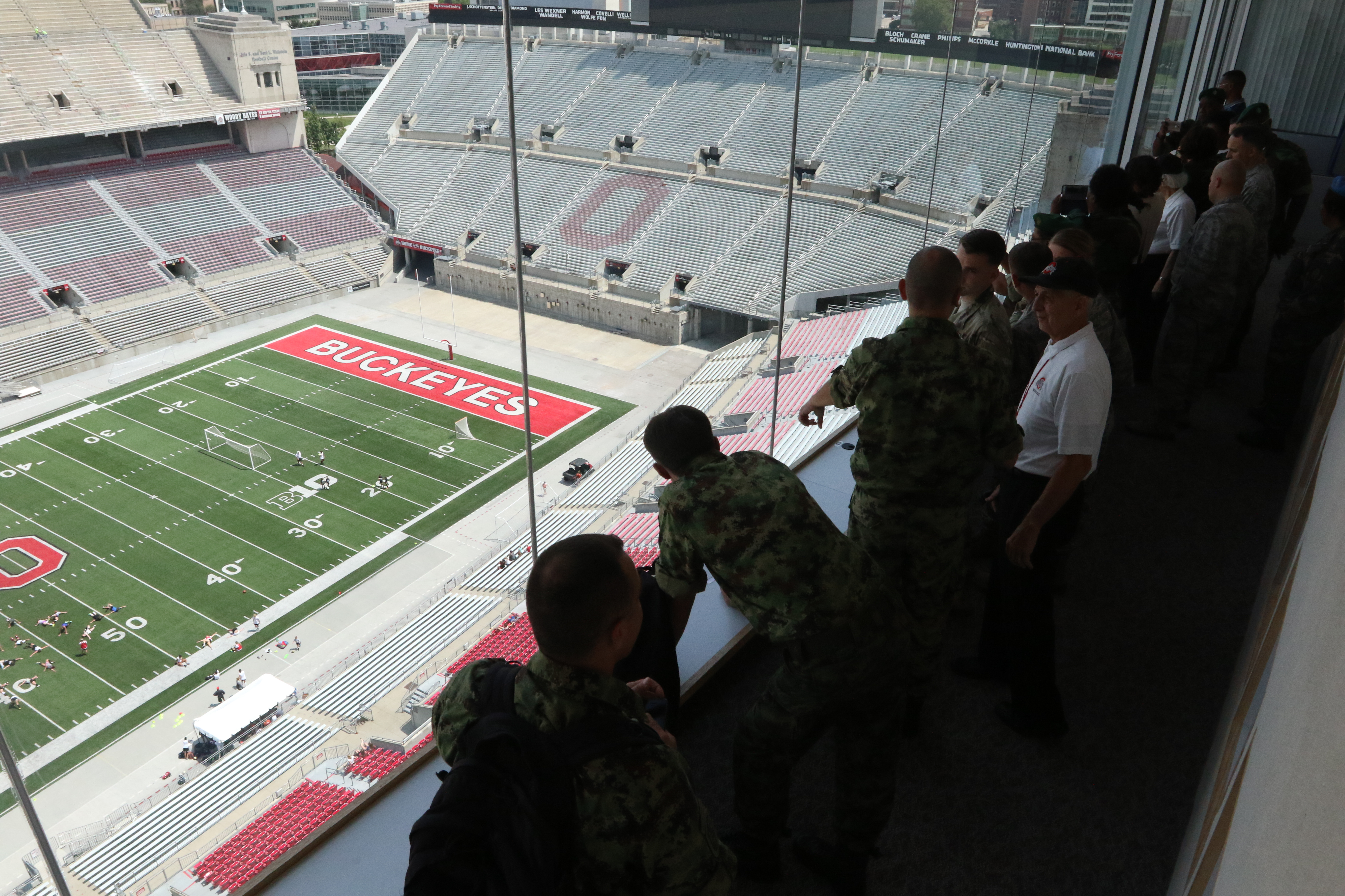Members of the Serbian and Angolan Armed Forces tour Ohio Stadium with members of the Ohio National Guard during downtime at a Combined Medical Engagement planning event, July 29, 2017, in Columbus, Ohio. The foreign visitors were able to tour one of the country's iconic sports facilities, located on the campus of The Ohio State University. (Ohio National Guard photo by Staff Sgt. Michael Carden)