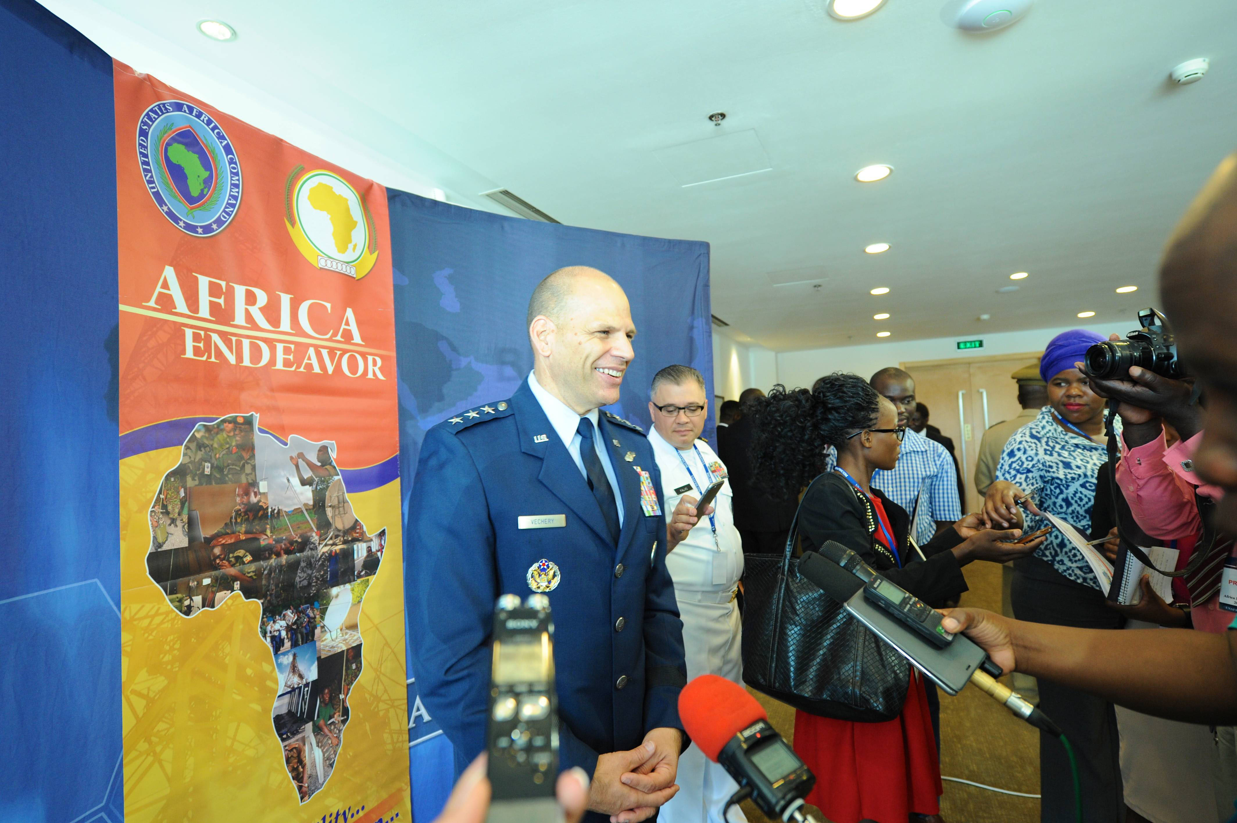 LILONGWE, Malawi - Lt. Gen. James C. Vechery, U.S. Africa Command Deputy to the Commander for Military Operations, answers questions during a press conference following the opening ceremony for Africa Endeavor 2017. Africa Endeavor is an annual senior leader and communications symposium and technology expo designed to develop standardized, multinational communications practices for peacekeeping and disaster response missions mandated by the African Union and the United Nations. (Official Photo by Navy Mass Communication Specialist 2nd Class (SW/AW) Dominique Shelton/RELEASED)