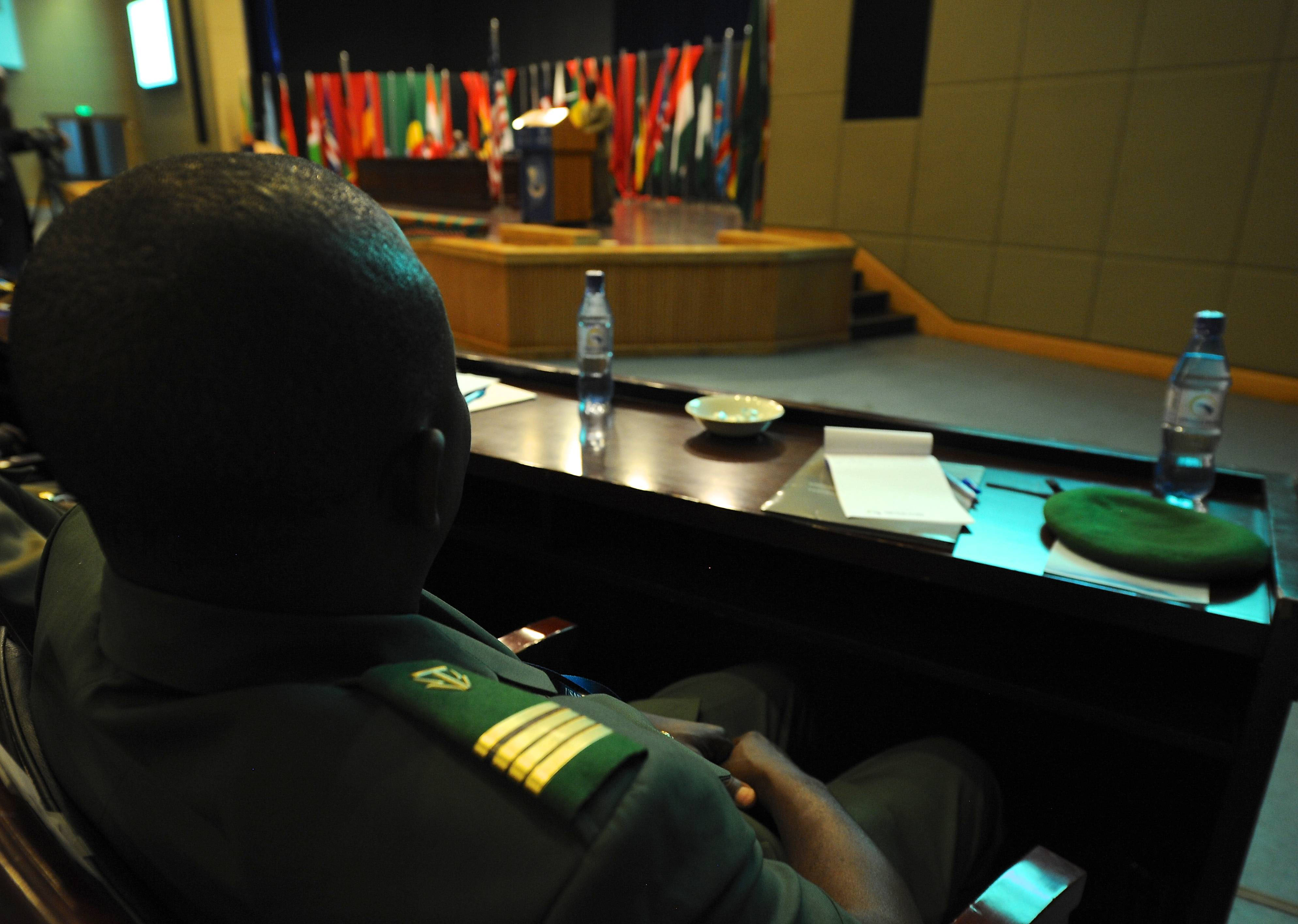 LILONGWE, Malawi - Malawi Defence Force Commander, Gen. Griffin S. Phiri, addresses participants at the opening ceremony of Africa Endeavor 2017 in Lilongwe, Malawi Aug. 21-25. Africa Endeavor is an annual senior leader and communications symposium and technology expo designed to develop standardized, multinational communications practices for peacekeeping and disaster response missions mandated by the African Union and the United Nations. (Photo by Navy Mass Communication Specialist 2nd Class (SW/AW) Dominique Shelton/RELEASED)