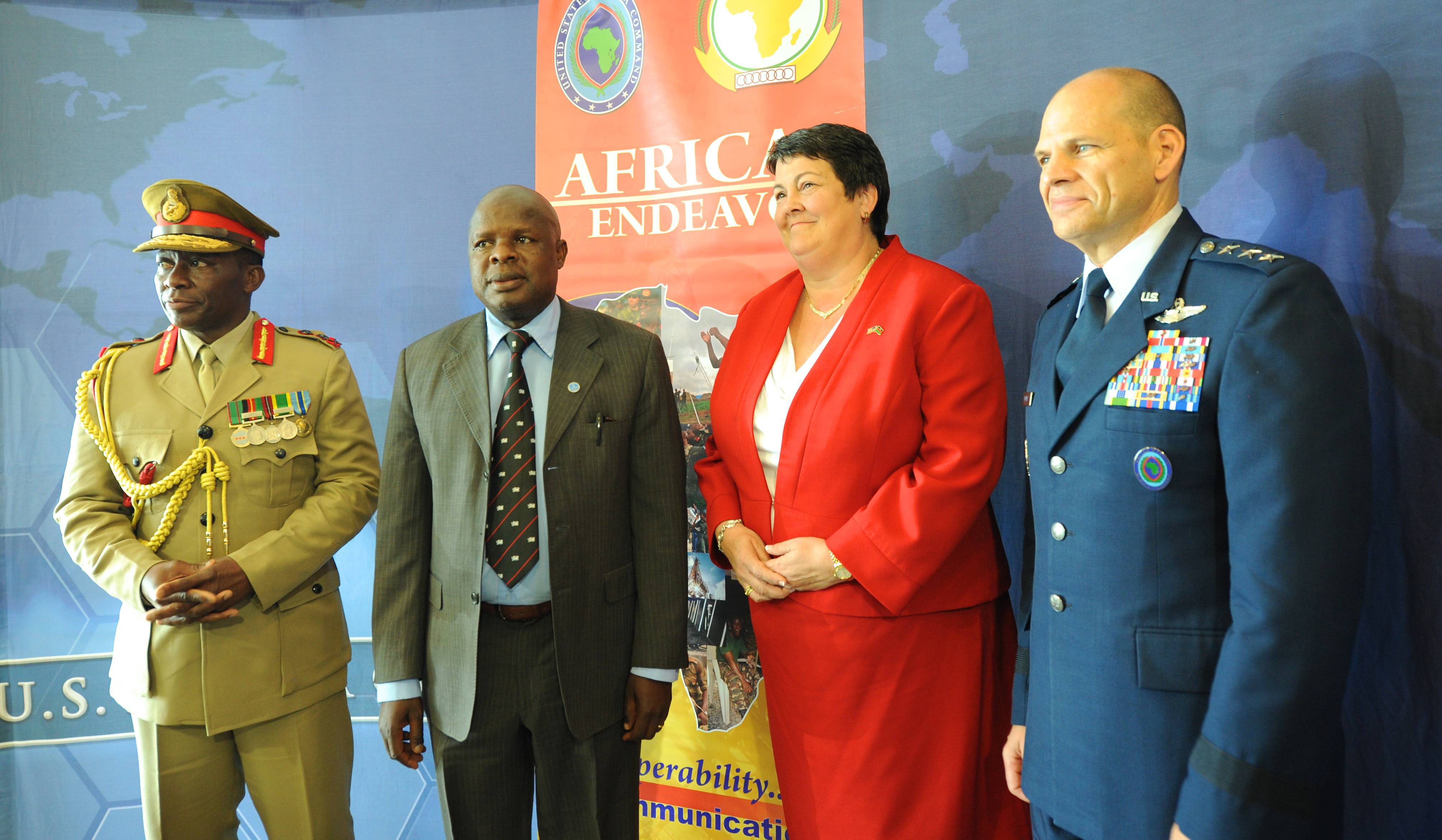 LILONGWE, Malawi - (from left to right) Gen. Griffin S. Phiri, Commander, Malawi Defense Force; Hon. Everton Chimulirenji, Malawi Deputy Minister for Defence MP; Hon. Virginia Palmer, U.S. Ambassador to Malawi; and Lt. Gen. James C. Vechery, U.S. Africa Command Deputy to the Commander for Military Operations pose for an official photo following the opening ceremony for Africa Endeavor 2017. Africa Endeavor is an annual senior leader and communications symposium and technology expo designed to develop standardized, multinational communications practices for peacekeeping and disaster response missions mandated by the African Union and the United Nations. (Official Photo by Navy Mass Communication Specialist 2nd Class (SW/AW) Dominique Shelton/RELEASED)