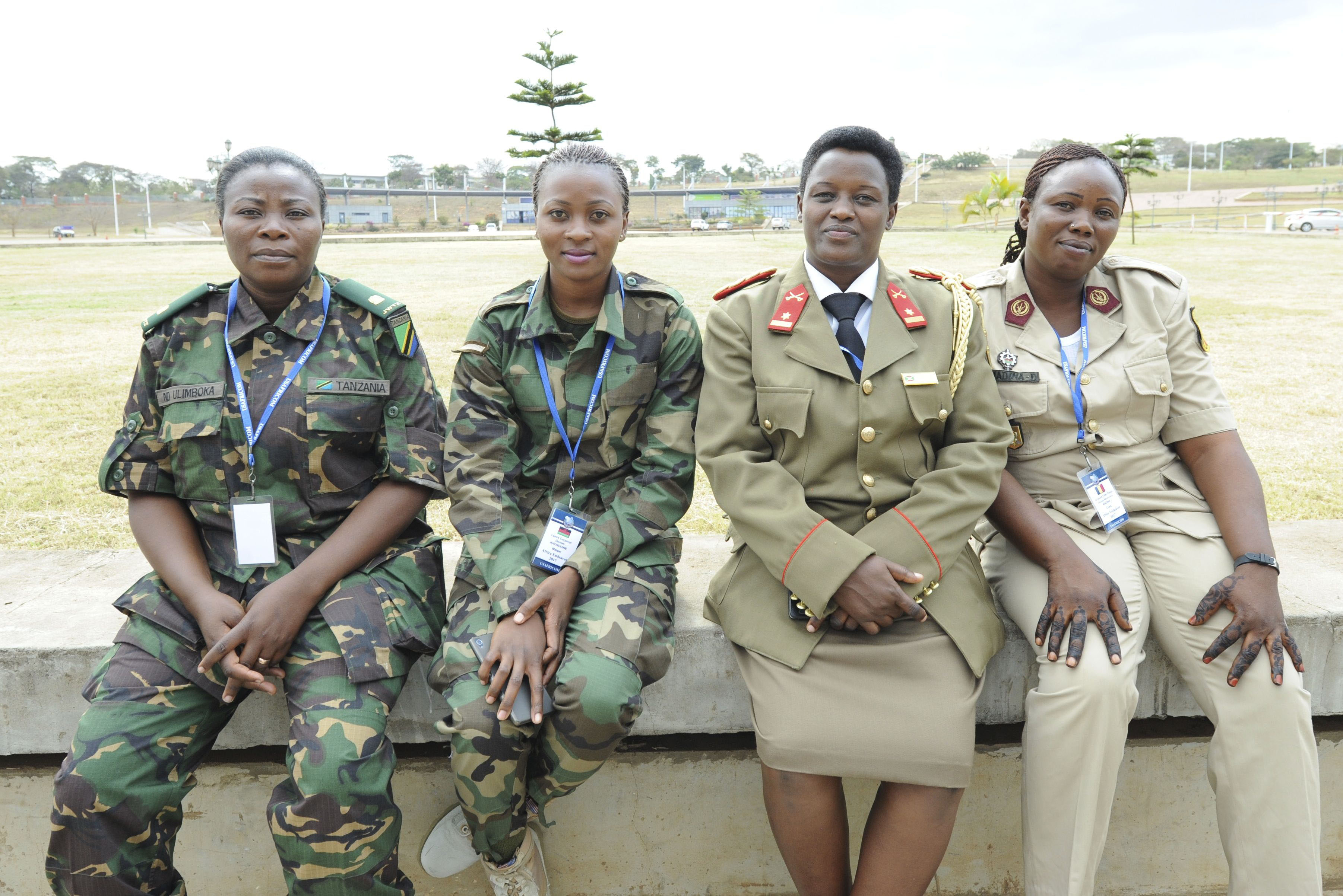 LILONGWE, Malawi (Aug. 22, 2017) – Women serving in the militaries of various U.S. Africa Command (AFRICOM) African partner nations pose for a photo during the AFRICOM sponsored senior leader symposium Africa Endeavor 2017 (AE17) in Lilongwe, Malawi. AE17 is an annual senior leader and communications symposium and technology expo designed to develop standardized, multinational communications practices for peacekeeping and disaster response missions mandated by the African Union and the United Nations. (Official Photo by U.S. Navy Mass Communication Specialist 2nd Class (SW/AW) Dominique Shelton/RELEASED)