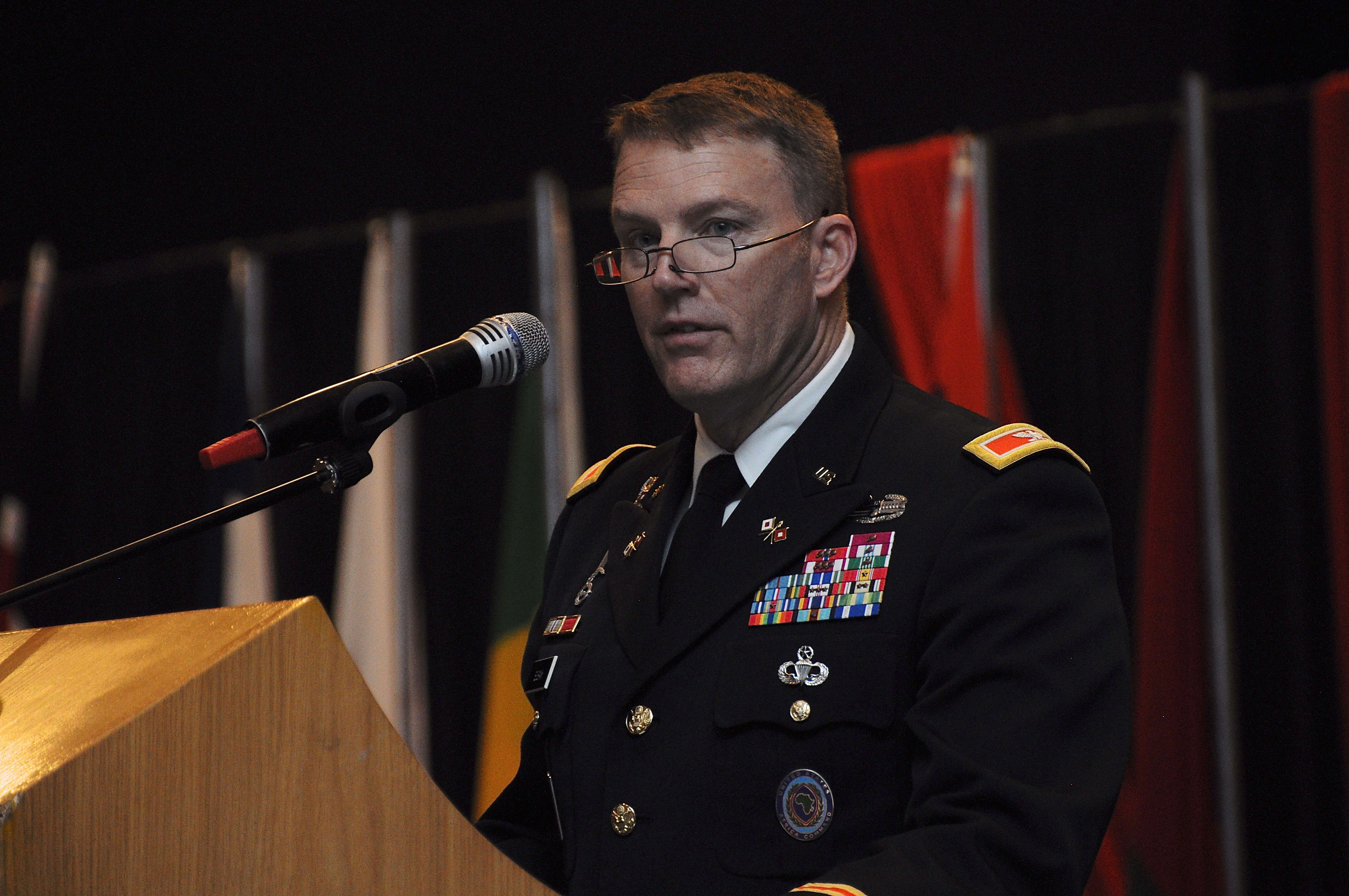 LILONGWE, Malawi (Aug. 25, 2017)-- U.S. Army Col. Christopher L. Eubank, U.S. Africa Command (AFRICOM) Director of Communications, gives closing remarks during the closing ceremony of Africa Endeavor 2017 (AE17) in Lilongwe, Malawi. AE17 is an AFRICOM annual senior leader and communications symposium and technology expo designed to develop standardized, multinational communications practices for peacekeeping and disaster response missions mandated by the African Union and the United Nations. (Official Photo by U.S. Navy Mass Communication Specialist 2nd Class (SW/AW) Dominique Shelton/For Release.)