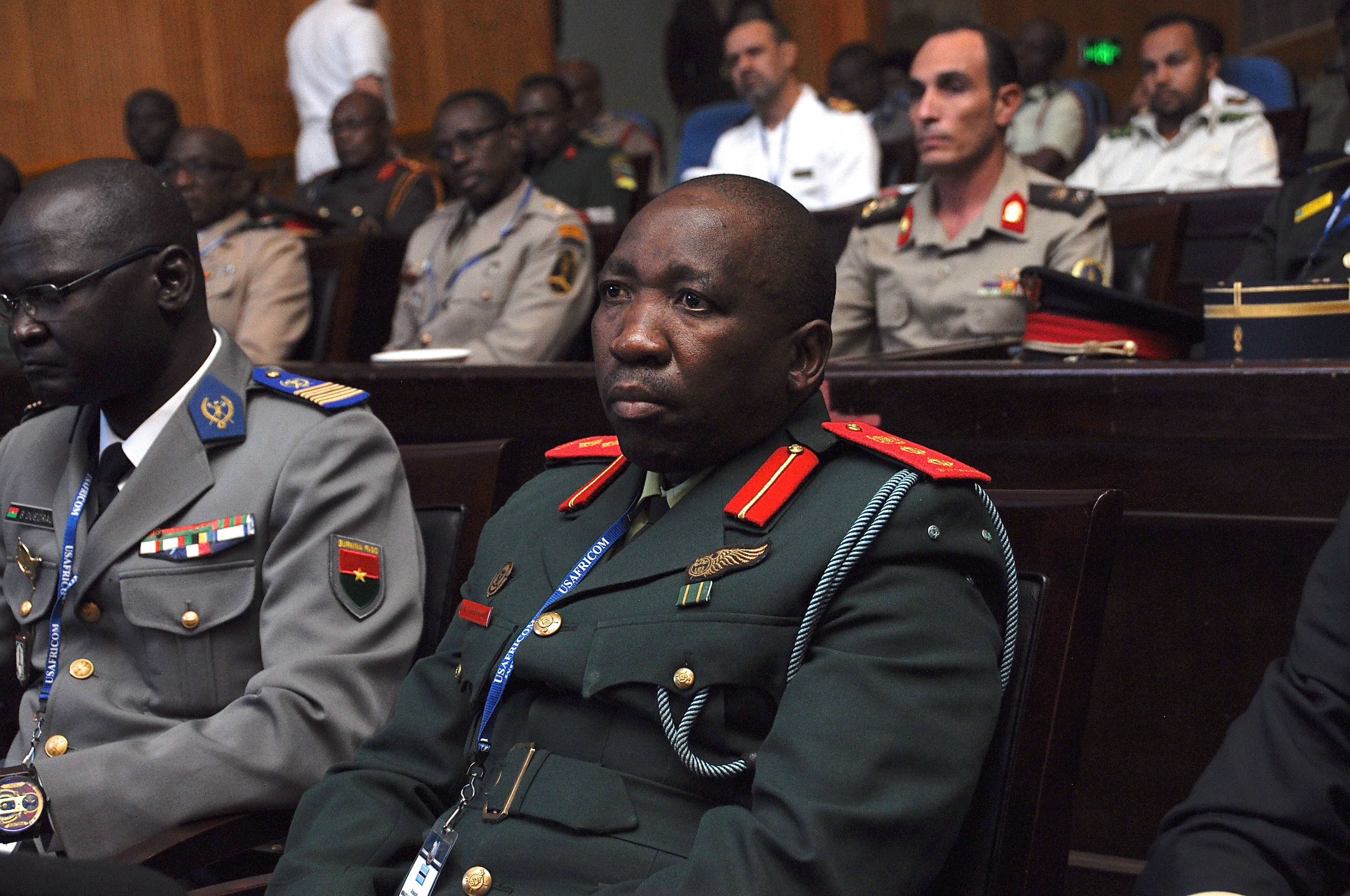 LILONGWE, Malawi (Aug. 25, 2017) -- A U.S. Africa Command (AFRICOM) partner from one of the more than 40 participating nations in Africa Endeavor 2017, sits in on the closing ceremony concluding the weeklong event in Lilongwe, Malawi. AE17 is an annual senior leader and communications symposium and technology expo designed to develop standardized, multinational communications practices for peacekeeping and disaster response missions mandated by the African Union and the United Nations. (Official Photo by U.S. Navy Mass Communication Specialist 2nd Class (SW/AW) Dominique Shelton/For Release.)