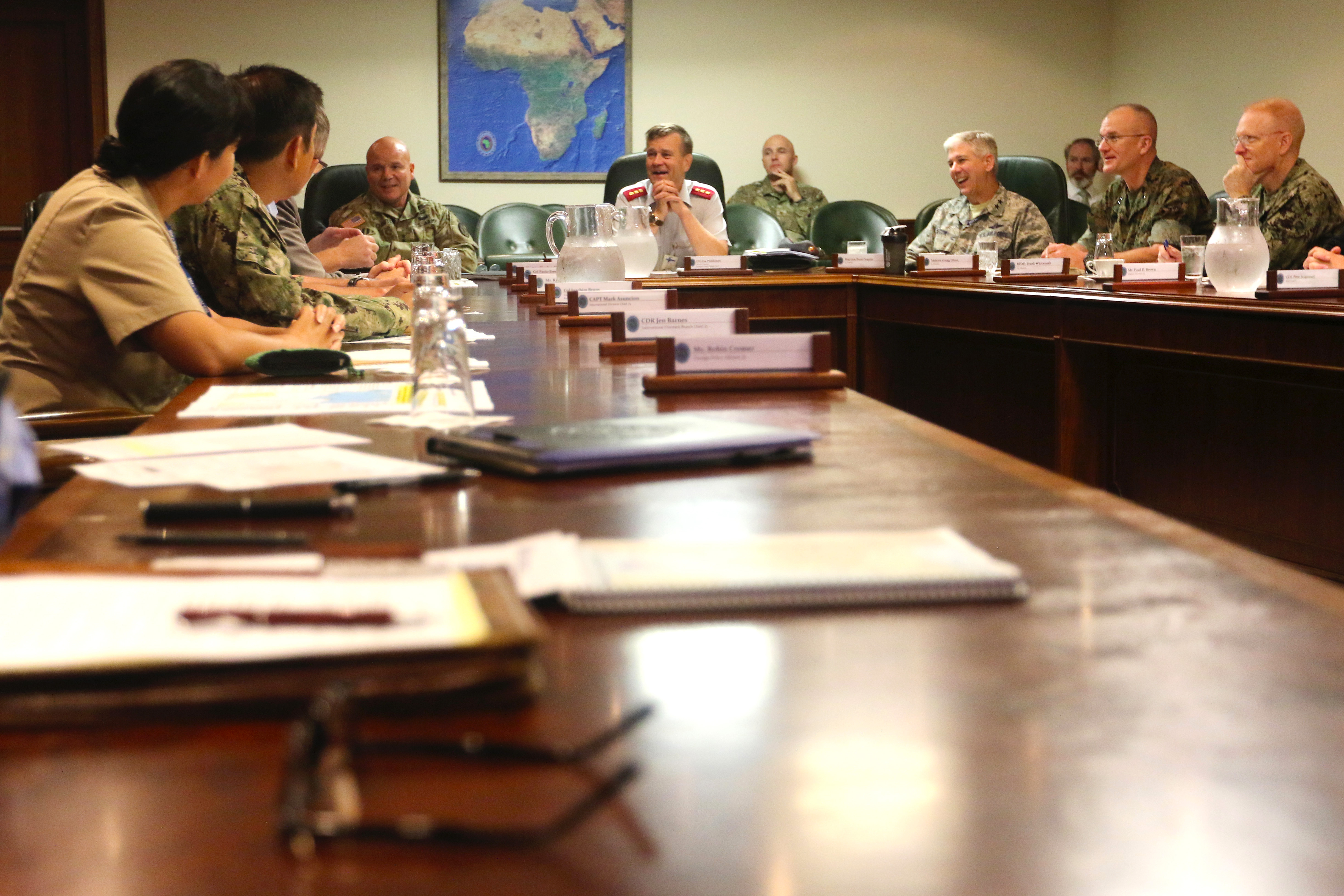 Lt. Gen. Esa Pulkkinen, the Director General of the EU Military Staff and Director of the EU Military Planning and Conduct Capability, participates in a round-table discussion during a visit to U.S. Africa Command headquarters in Stuttgart, Germany Aug. 24.