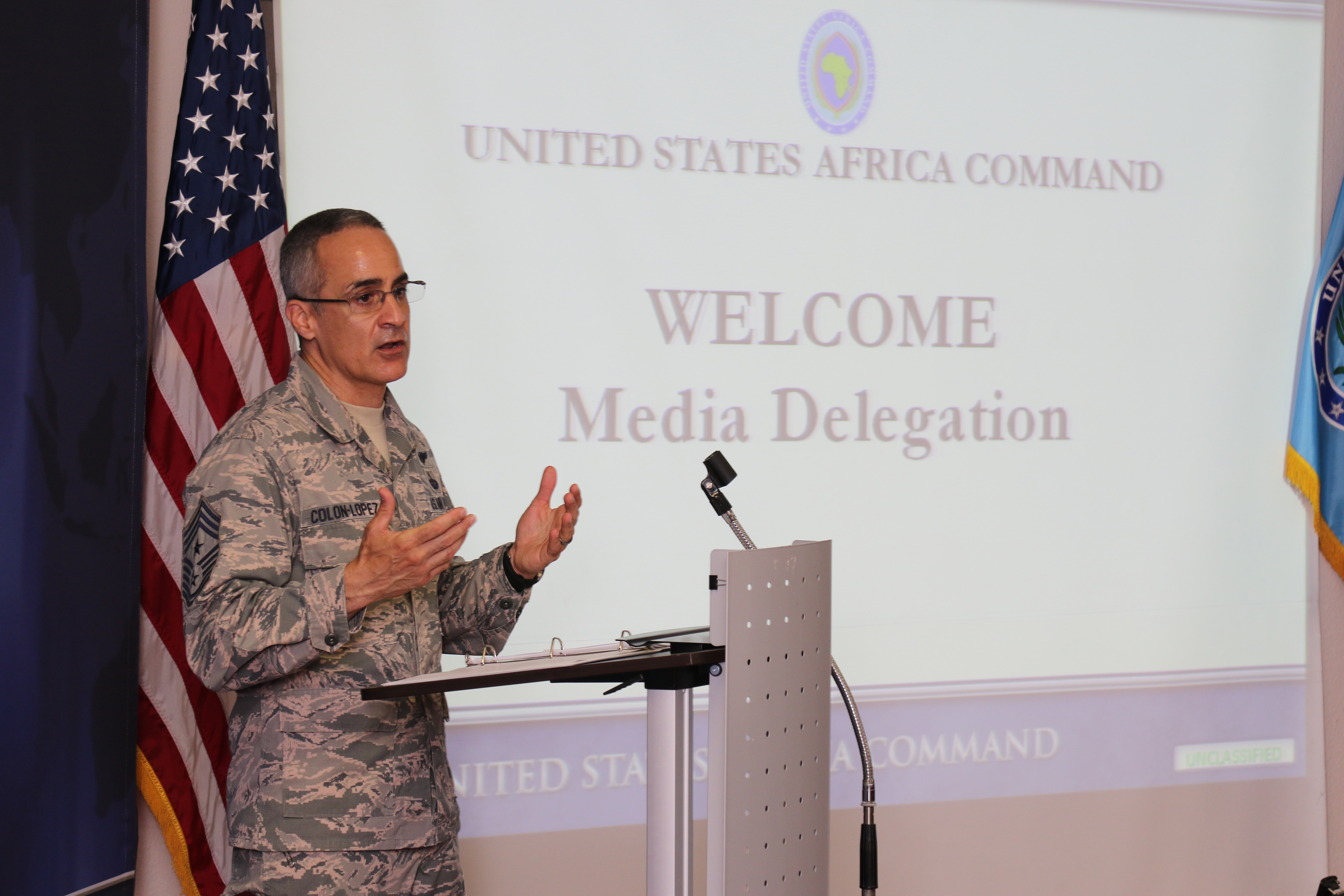 STUTTGART, Germany - U.S. Air Force Chief Master Sgt. Ramon Colon-Lopez, AFRICOM Command Senior Enlisted Leader, meets with media representatives from Somalia, Kenya, Uganda and Ethiopia during an East Africa Media Delegation Aug. 28-31 in Stuttgart, Germany. The event provides an opportunity for media representatives to learn about the command's mission, role, and programs. (U.S. Army photo by Nathan Herring/RELEASED)