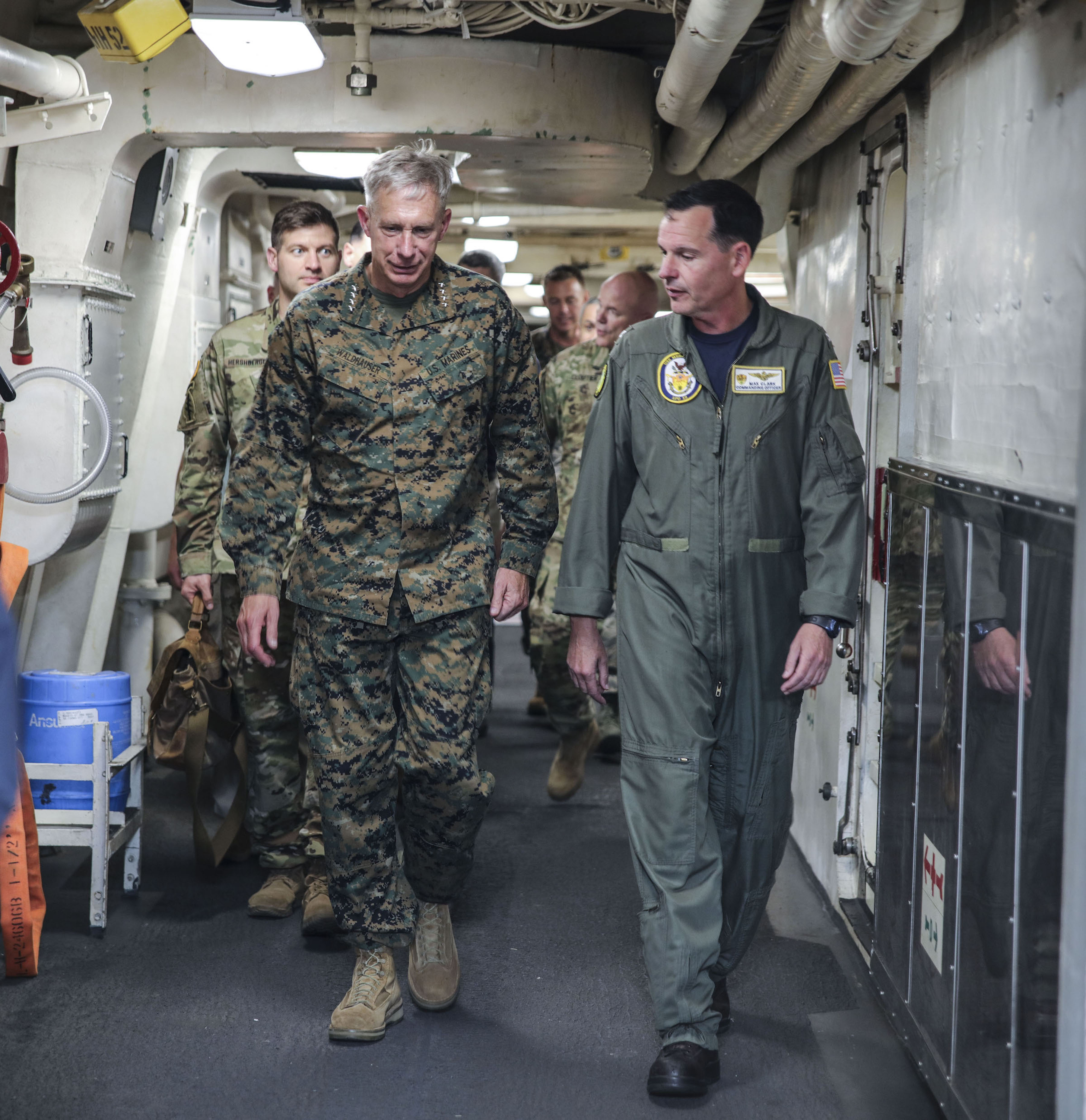MEDITERRANEAN SEA (Sept. 6, 2017) U.S. Marine Gen. Thomas D. Waldhauser, commander, U.S. Africa Command, left, speaks with Capt. Max Clark, commanding officer of the San Antonio-class amphibious transport dock ship USS Mesa Verde (LPD 19), during a visit aboard the ship Sept. 6, 2017. The ship is deployed with the Bataan Amphibious Ready Group and 24th Marine Expeditionary Unit to support maritime security operations and theater security cooperation efforts in the U.S. 6th Fleet area of operations. (U.S. Navy photo by Mass Communication Specialist 2nd Class Brent Pyfrom/Released)