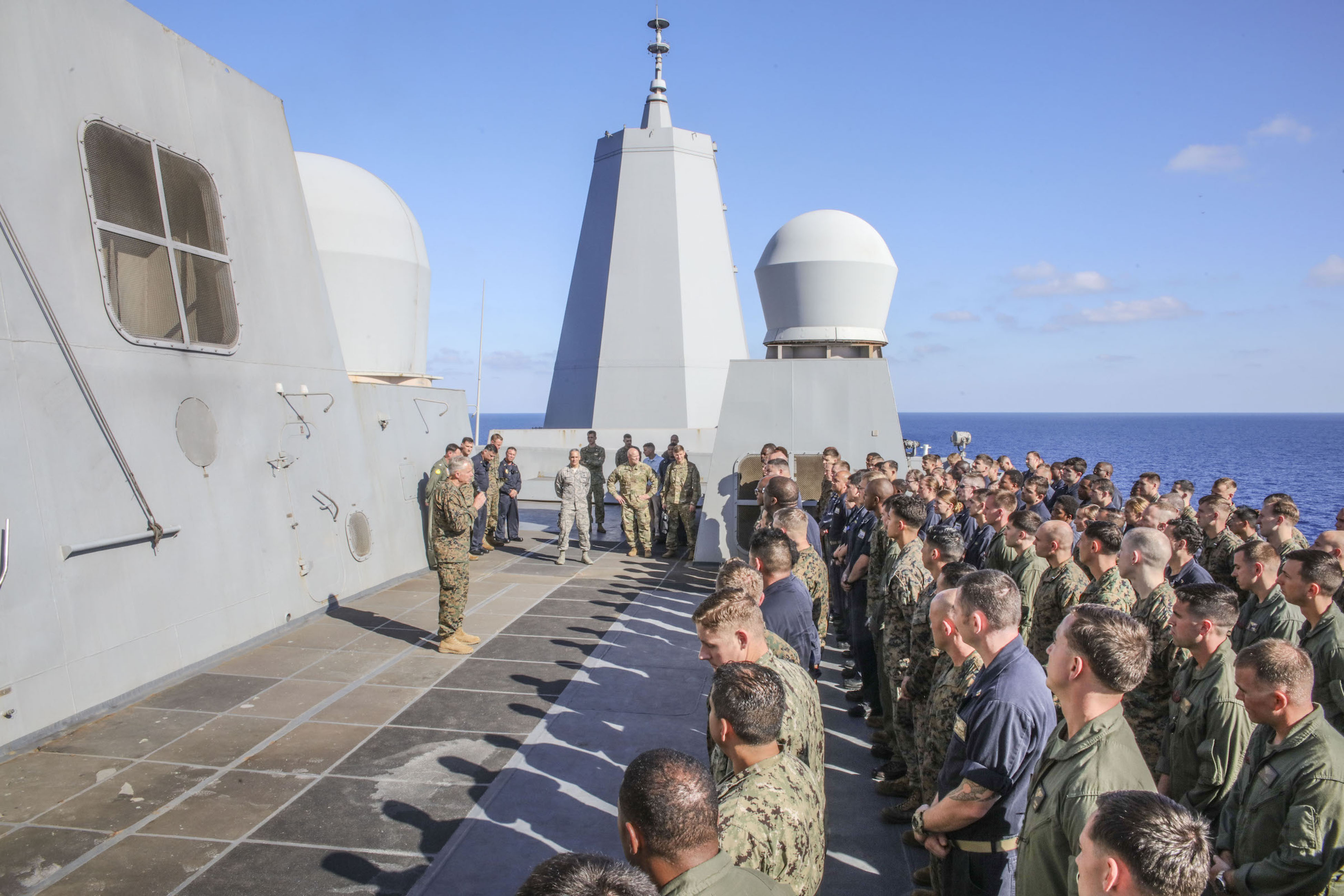 MEDITERRANEAN SEA (Sept. 6, 2017) U.S. Marine Gen. Thomas D. Waldhauser, commander, U.S. Africa Command, addresses officers and senior leaders aboard the San Antonio-class amphibious transport dock ship USS Mesa Verde (LPD 19) during a visit Sept. 6, 2017. The ship is deployed with the Bataan Amphibious Ready Group and 24th Marine Expeditionary Unit to support maritime security operations and theater security cooperation efforts in the U.S. 6th Fleet area of operations. (U.S. Navy photo by Mass Communication Specialist 2nd Class Brent Pyfrom/Released)