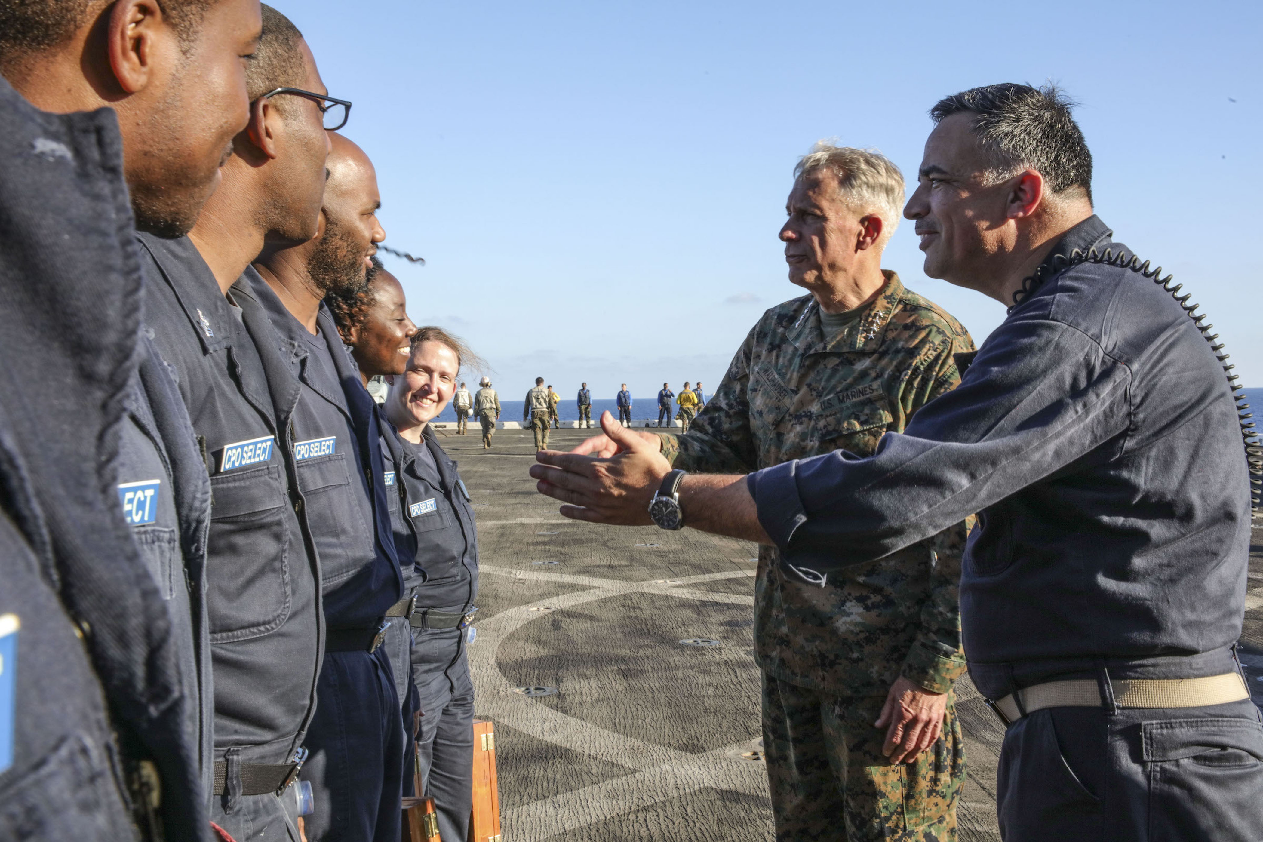 MEDITERRANEAN SEA (Sept. 6, 2017) U.S. Marine Gen. Thomas D. Waldhauser, commander, U.S. Africa Command, and Command Master Chief Michael Mashburn, address chief petty officer selectees aboard the San Antonio-class amphibious transport dock ship USS Mesa Verde (LPD 19) Sept. 6, 2017. The ship is deployed with the Bataan Amphibious Ready Group and 24th Marine Expeditionary Unit to support maritime security operations and theater security cooperation efforts in the U.S. 6th Fleet area of operations. (U.S. Navy photo by Mass Communication Specialist 2nd Class Brent Pyfrom/Released)