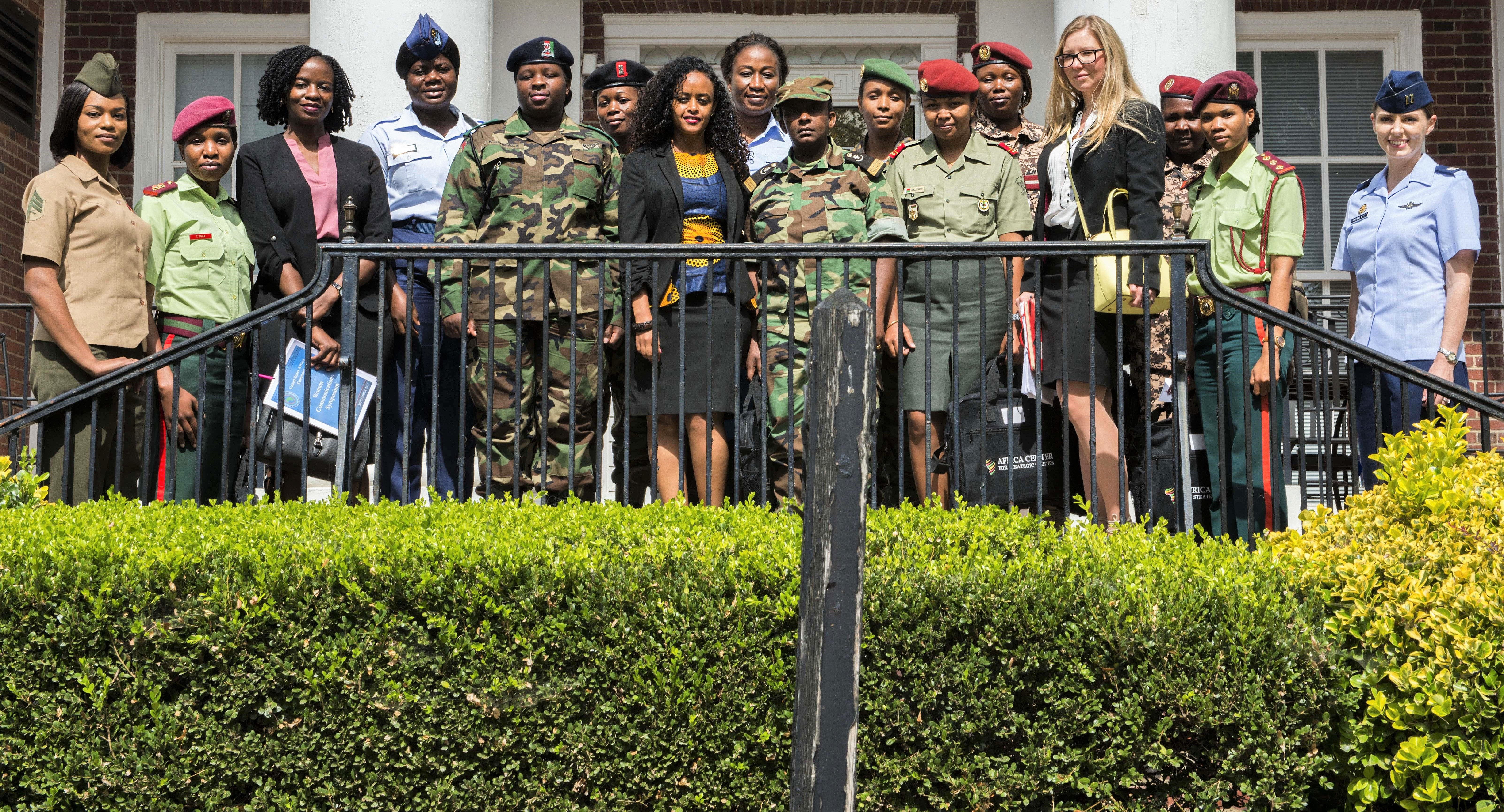 Participants in U.S. Africa Command's Women, Peace and Security forum for female military leaders from seven African nations pose for a photo at National Defense University in Washington, Sept. 19, 2017. DoD photo by Marine Corps Staff Sgt. Ben Flores