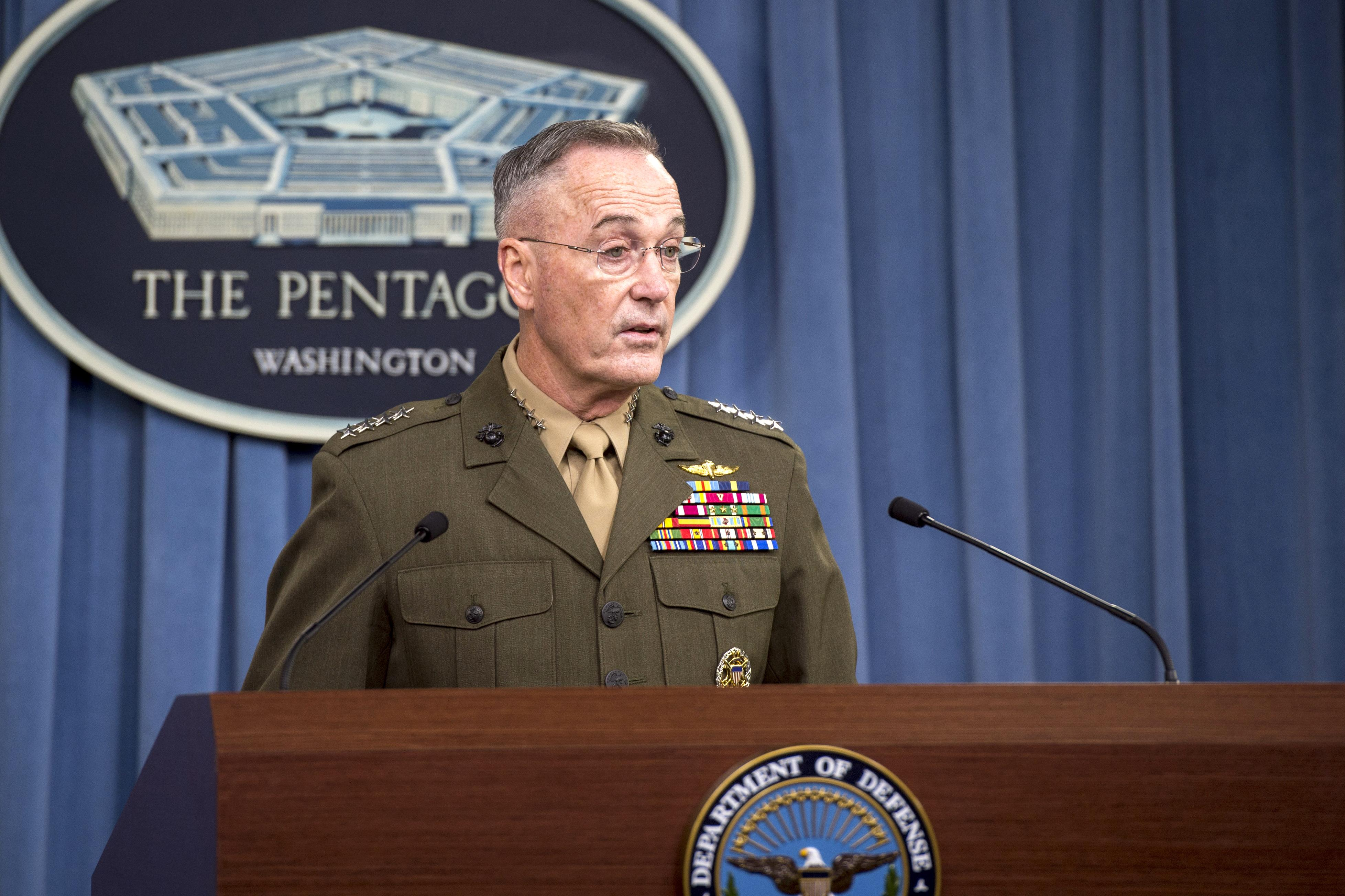 Chairman of the Joint Chiefs of Staff U.S. Marine Corps Gen. Joe Dunford speaks with media about recent military operations in Niger during a briefing Oct. 23, 2017, at the Pentagon in Washington, D.C. (DOD photo by Air Force Tech. Sgt. Brigitte N. Brantley)