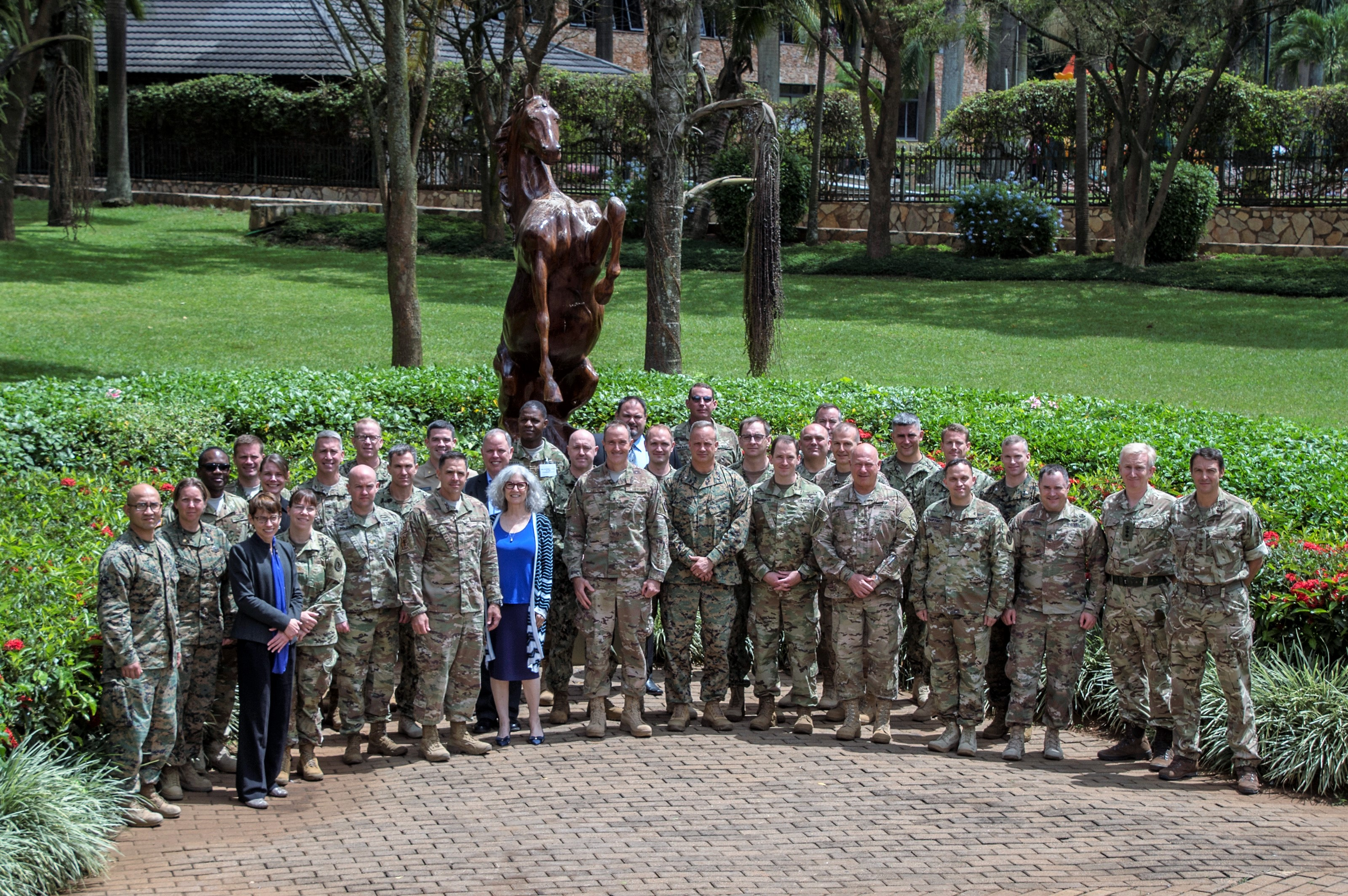 Combined Joint Task Force-Horn of Africa members gather for the 2017 East African Senior Defense Official/Defense Attaché Conference in Kampala, Uganda, to discuss regional issues of East Africa and address threat mitigation options to counter improvised explosive devices, Oct. 17, 2017. Subject matter experts from a variety of government agencies discussed military partnership opportunities that enhance security and stability throughout East Africa. (U.S. Air National Guard photo by Tech. Sgt. Joe Harwood)