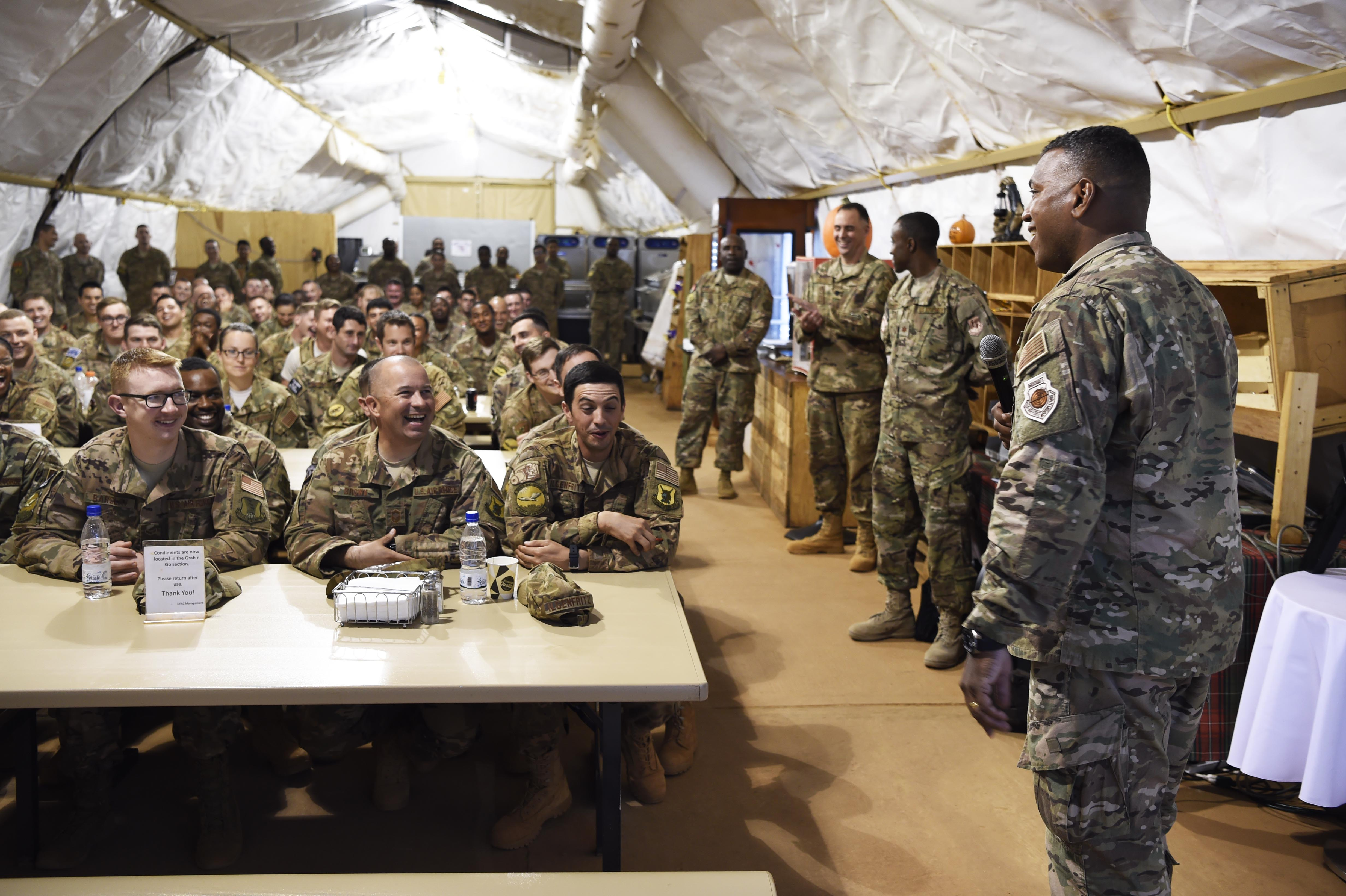 U. S. Air Force Lt. Gen. Richard Clark, 3rd Air Force/17th Expeditionary AF commander, speaks to 409th Air Expeditionary Group Airmen during an all-call, at Nigerien Air Base 101, Niger, on Oct. 18, 2017. Clark visited Airmen from around the 435th Air Expeditionary Wing deployed throughout Africa to highlight the importance of their mission and get to know the troops better. (U.S. Air Force photo by Staff Sgt. Joshua R. M. Dewberry)