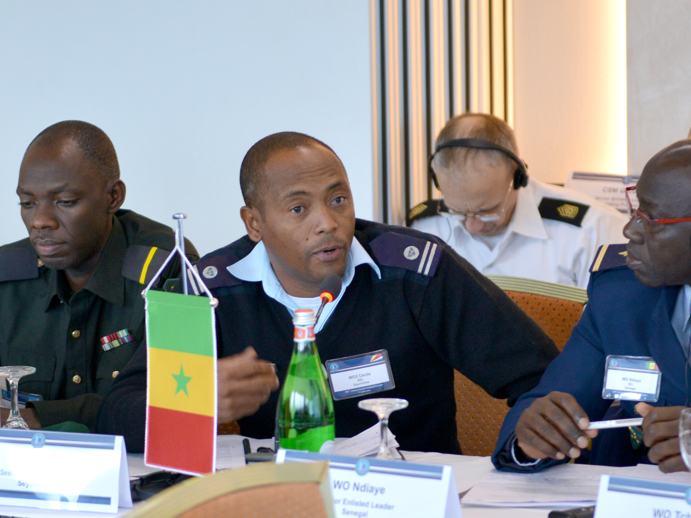GRAINAU, Germany —Warrant Officer 2 Jeffery Cecile, senior enlisted leader, Seychelles People's Defence Force, asks a question, Nov. 9, 2017, during the first ever U.S. Africa Command hosted, Africa Senior Enlisted Leader Conference, held in Grainau, Germany Nov. 6-10. The conference brought together Senior Enlisted Leaders from more than 20 African nations and the U.S. to discuss shared challenges and opportunities.