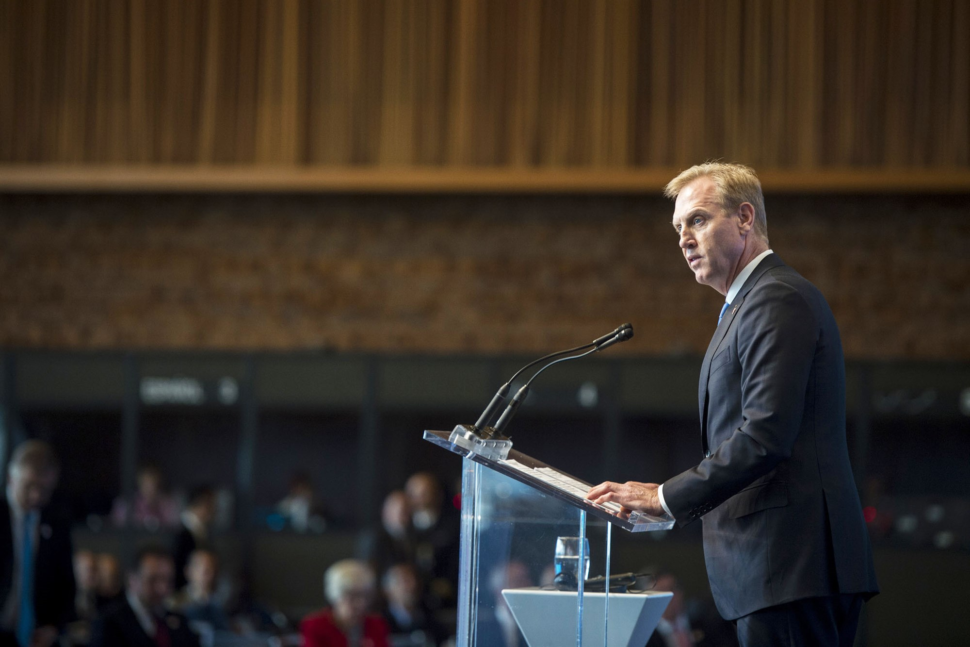 Deputy Defense Secretary Pat Shanahan speaks during the U.N. Peacekeeping Defense Ministerial conference in Vancouver, British Columbia, Nov. 15, 2017. DoD photo by Air Force Tech. Sgt. Brigitte N. Brantley