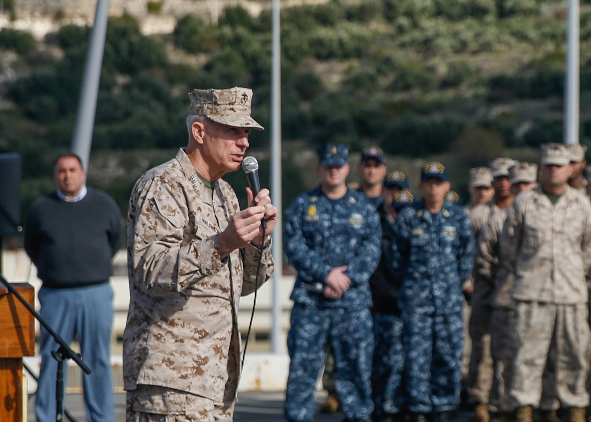 MEDITERRANEAN SEA (Nov. 29, 2017) – U U.S. Marine Corps Gen. Thomas D. Waldhauser, Commander, U.S. Africa Command, address Marines and Sailors of the 15th Marine Expeditionary Unit and America Amphibious Ready Group aboard the San Antonio-class amphibious transport dock ship USS San Diego (LPD 22), Nov. 29, 2017. Waldhauser visited the USS San Diego (LPD 22) to personally congratulate Marines and Sailors of the 15th Marine Expeditionary Unit and America Amphibious Ready Group for the work and efforts in supporting missions in the 6th Fleet area of operations. USS San Diego is deployed with the America ARG and 15th MEU to support maritime security operations and theater security cooperation efforts in the U.S. 6th Fleet area of operations.(U.S. Marine Corps photo by Cpl. Jeremy Laboy/Released)