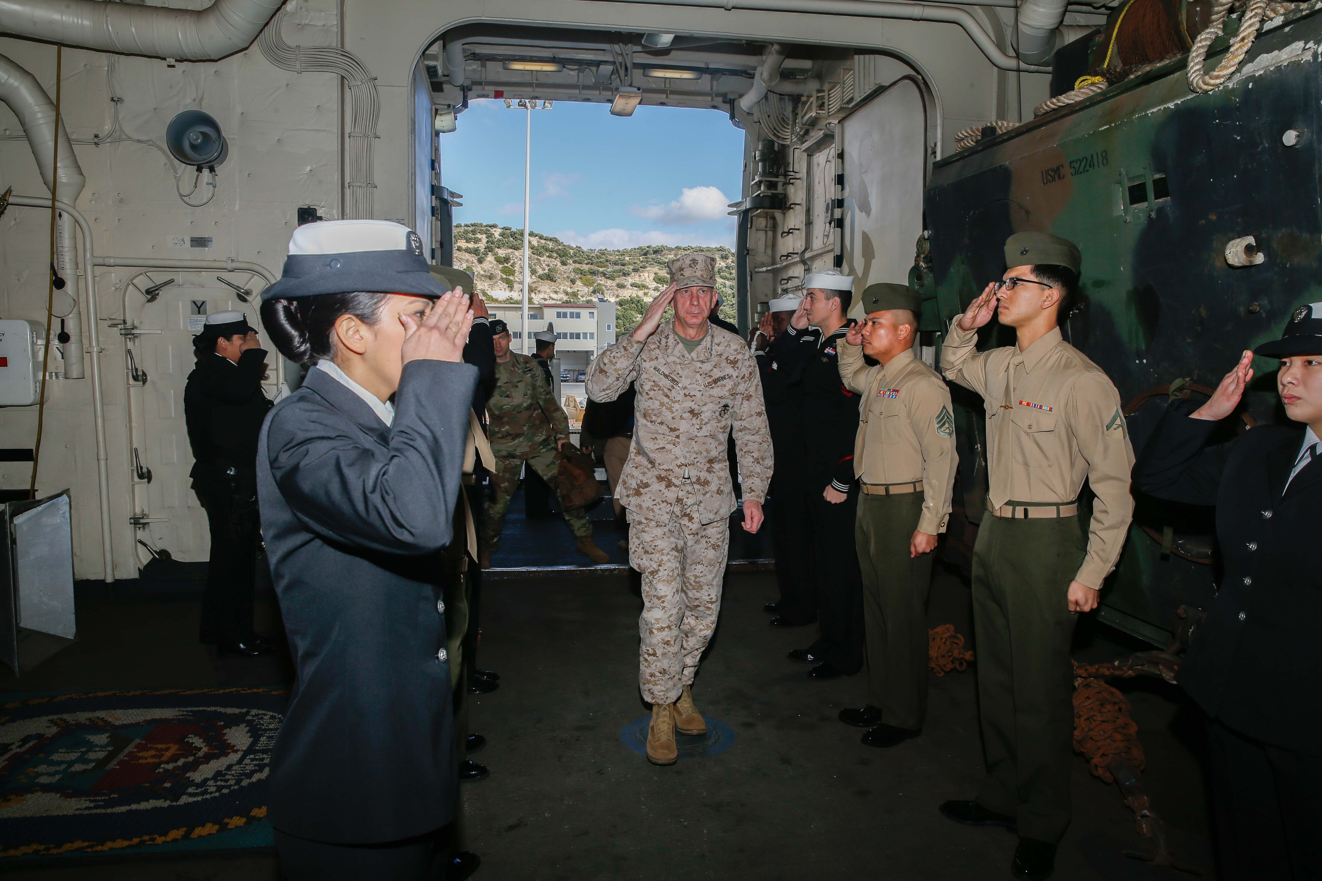 MEDITERRANEAN SEA (Nov. 29, 2017) – U.S. Marine Corps Gen. Thomas D. Waldhauser, Commander, U.S. Africa Command, comes aboard the San Antonio-class amphibious transport dock ship USS San Diego (LPD 22), Nov. 29, 2017. Waldhauser visited the USS San Diego (LPD 22) to personally congratulate Marines and Sailors of the 15th Marine Expeditionary Unit and America Amphibious Ready Group for the work and efforts in supporting missions in the 6th Fleet area of operations. USS San Diego is deployed with the America ARG and 15th MEU to support maritime security operations and theater security cooperation efforts in the U.S. 6th Fleet area of operations.(U.S. Marine Corps photo by Cpl. Jeremy Laboy/Released)