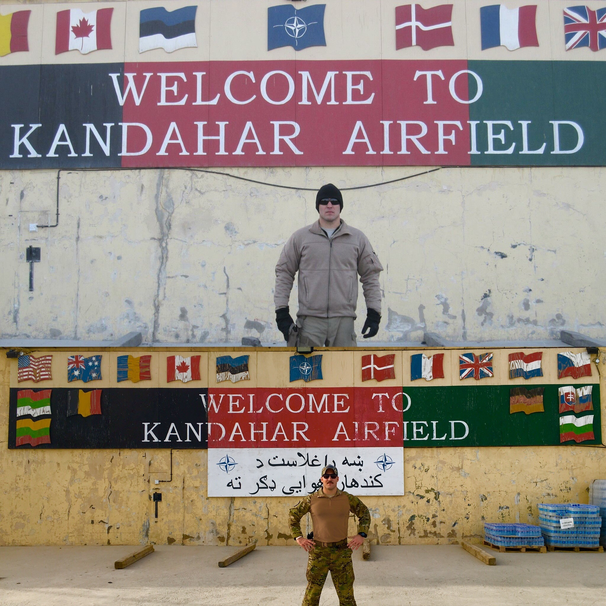 U.S. Air Force Staff Sgt. Kade Bollinger poses for a photo during his first deployment to Afghanistan in 2011 and Tech. Sgt. Bollinger poses for the same photo during his second deployment to Afghanistan in 2016, at Kandahar Airfield. (Courtesy photo)