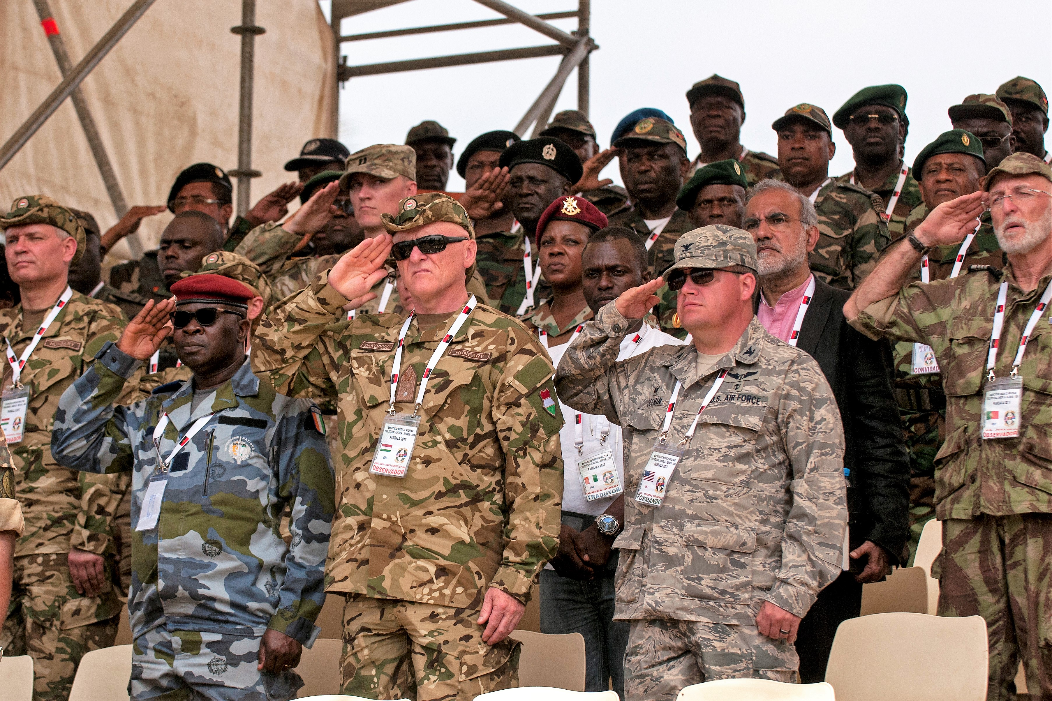 Representatives of several countries from all over the world, including the Ivory Coast, Portugal and  Hungary, attend the closing ceremony and VIP day for the PAMBALA 2017 exercise Dec. 14, 2017, Bengo Province, Angola. During the closing ceremony, members of both the Serbian Armed Forces and the Ohio National Guard exchanged flags with their host nation, Angola, and remarks were given by representatives of each participating country on the success of the first-ever trilateral engagement. (Ohio National Guard photo by Staff Sgt. Wendy Kuhn)
