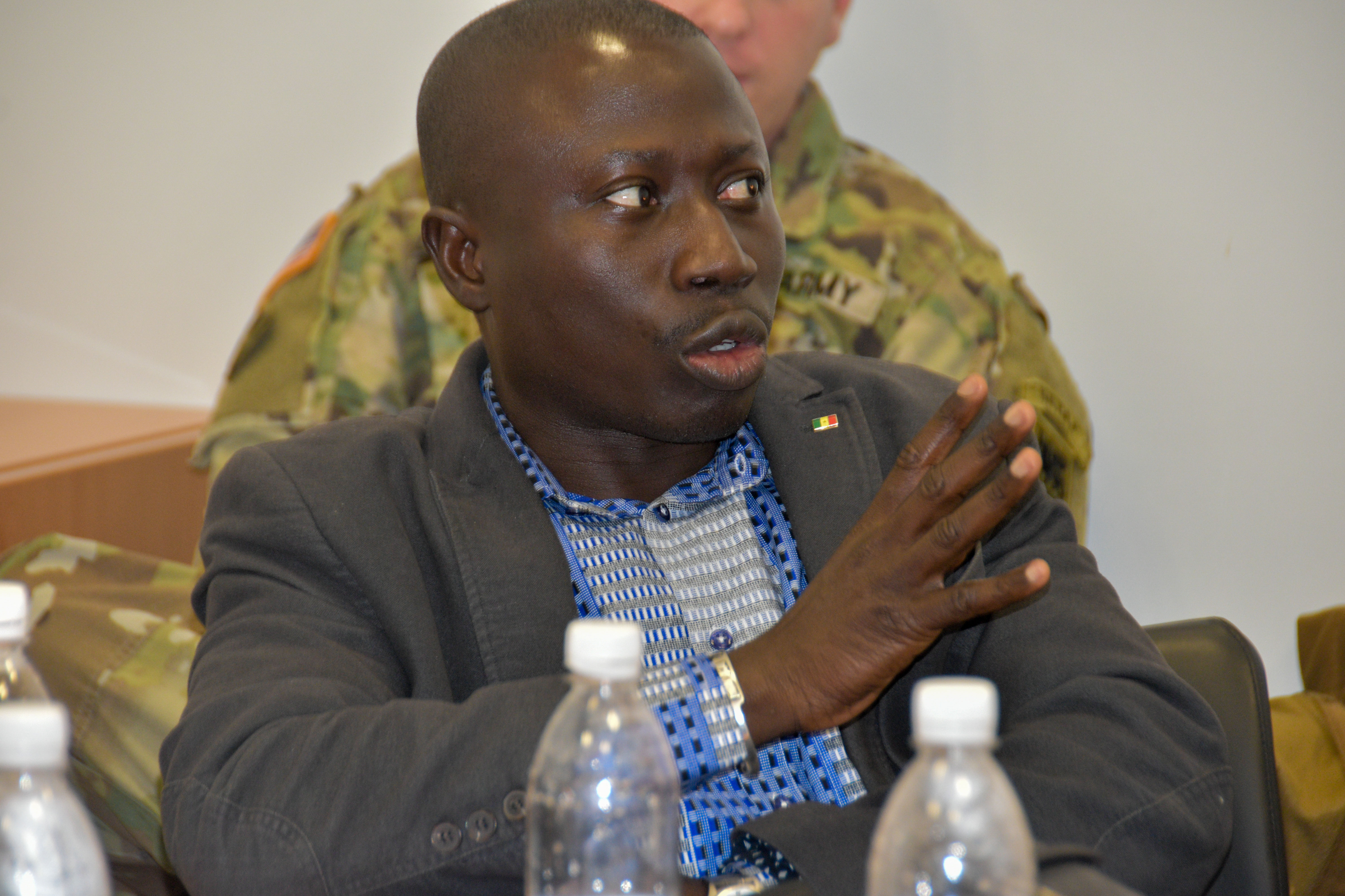 Louis Philippe Sagna, a journalist with Senegal's national television RTS/TV, asks a question.  Journalists from various news organizations in Senegal and Guinea Bissau visited U.S. Africa Command, Stuttgart, Germany, Dec. 11-14, 2017. AFRICOM staff provided briefs throughout the week which culminated in an interview of Lt. Gen. James C. Vechery, Deputy to the Commander for Military Operations, U.S. Africa Command.