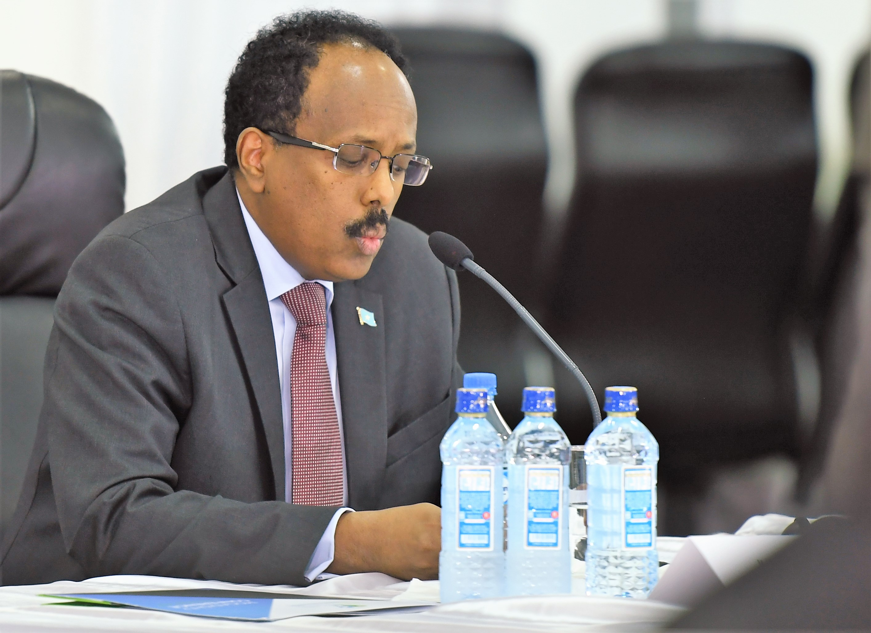 Mohamed Abdullahi Mohamed Farmaajo, the President of the Federal Government of Somalia, addresses participants during Somalia Security Conference held in Mogadishu, Somalia, on December 4, 2017. (UN Photo by Omar Abdisalan)