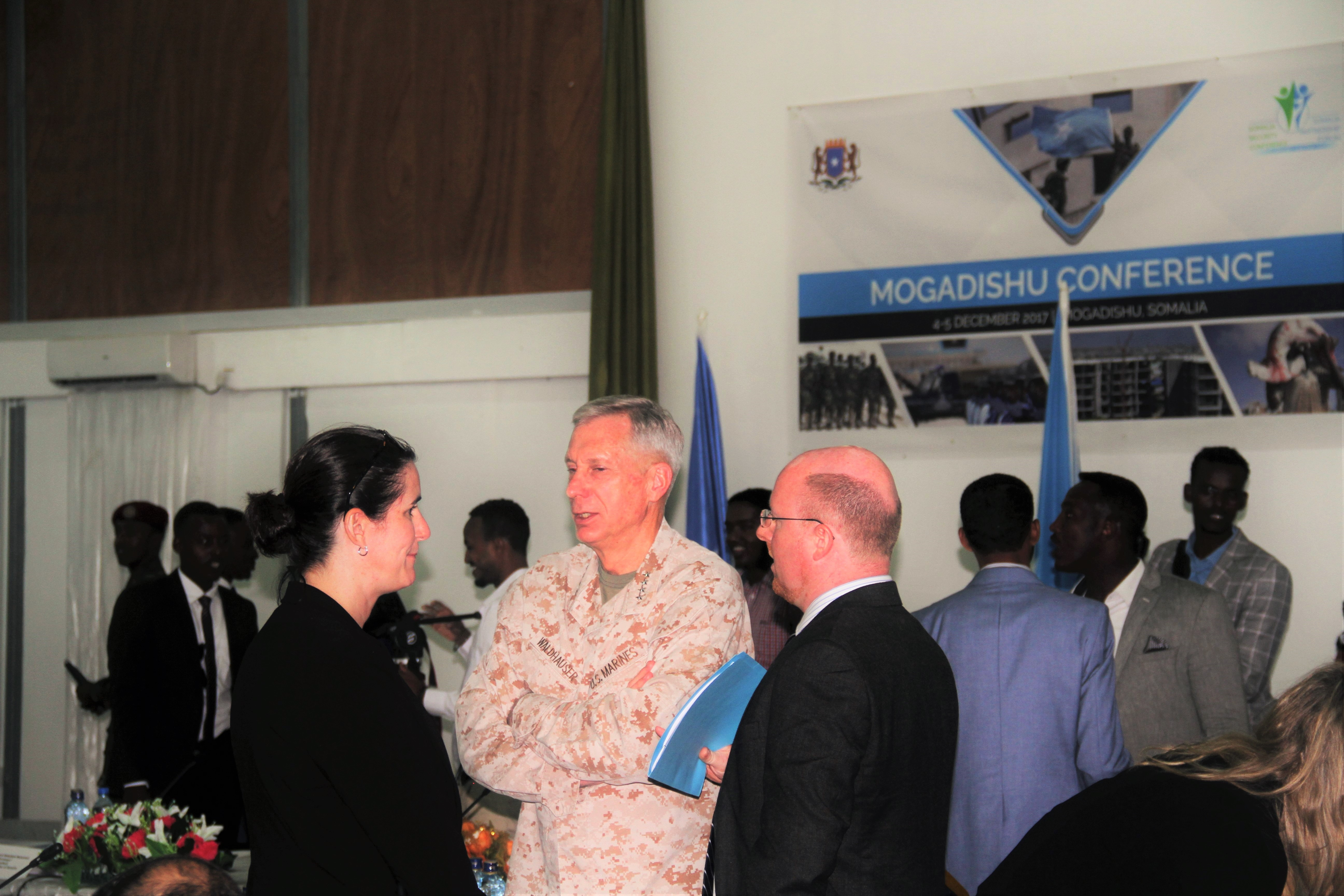 U.S. Marine Corps Gen. Thomas D. Waldhauser, Commander, U.S. Africa Command, speaks to other conference attendees during a break at the Somalia Security Conference held in Mogadishu on December 4, 2017. (Courtesy photo)
