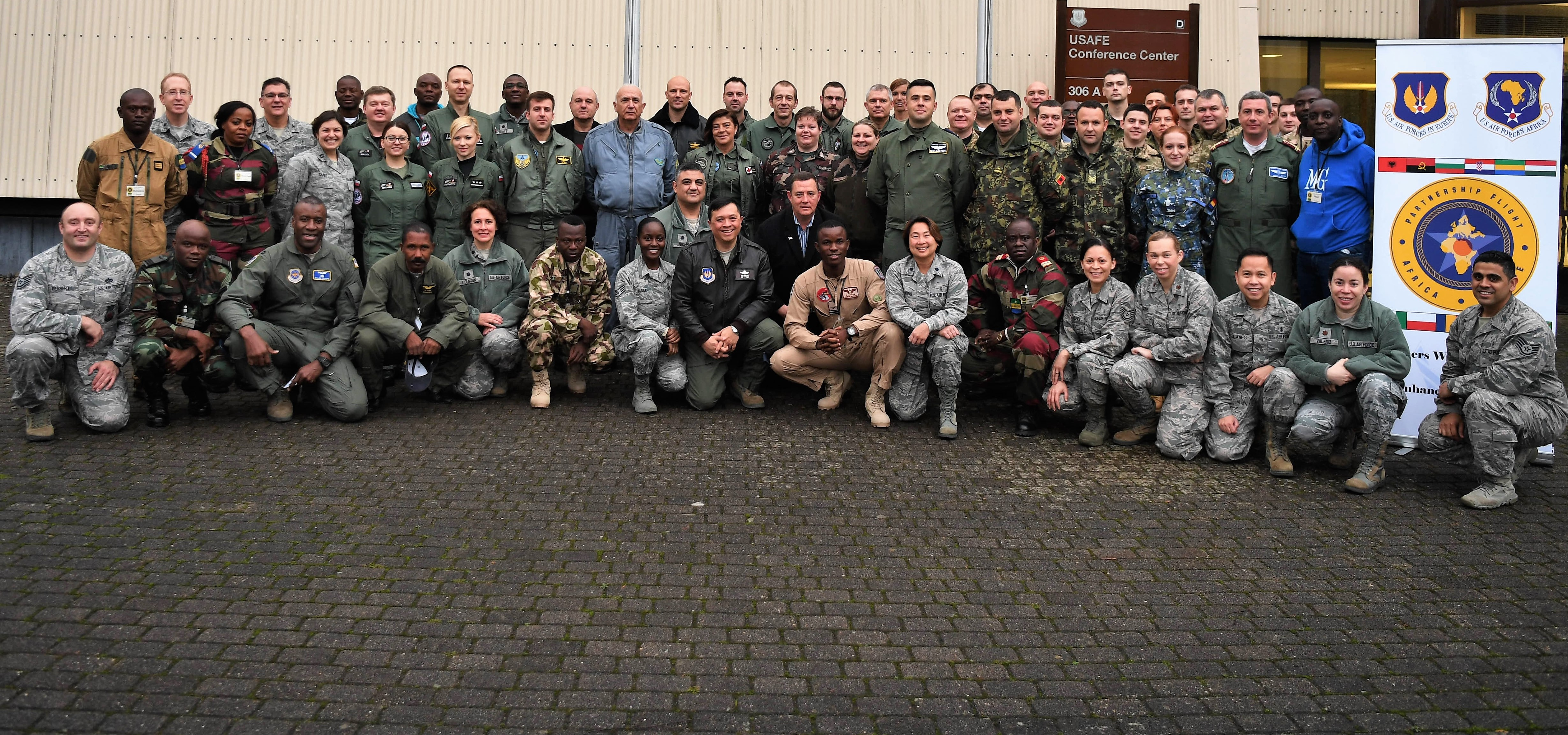 More than 50 representatives from 13 countries attended the first-ever U.S. Air Forces in Europe-Air Forces Africa Partnership Flight Symposium at Ramstein Air Base, Jan. 16, 2018. The symposium was created as a forum to share best practices and enhance cooperation between allied and partner nations. (U.S. Air Force photo by Tech. Sgt. Rachelle Coleman/Released)