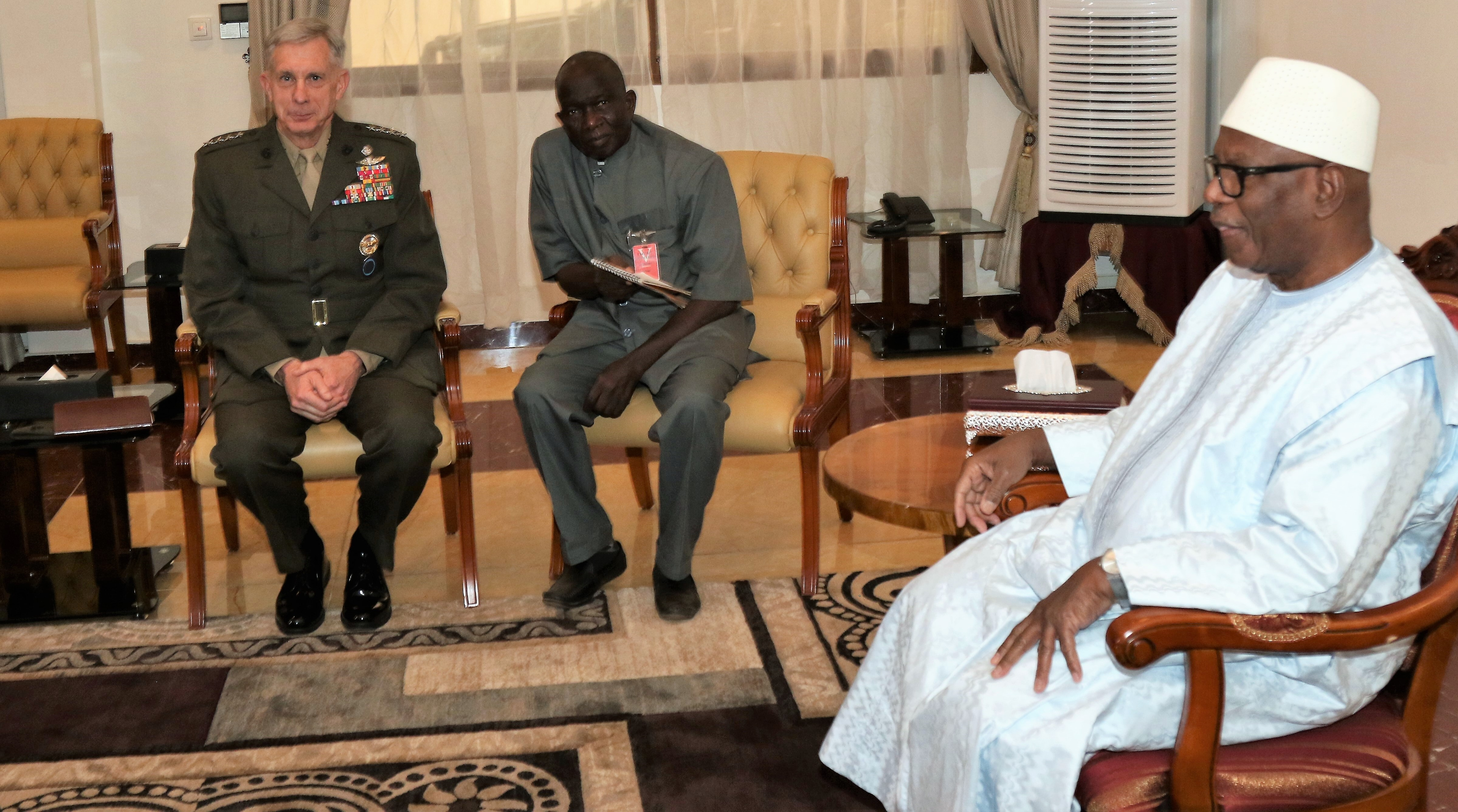 U.S. Marine Corps Gen. Thomas D. Waldhauser, commander, U.S. Africa Command meets with Malian President Ibrahim Keita Jan. 23, 2018 in Bamako, Mali. The leaders discussed defense and security cooperation as common goals. (U.S. AFRICOM photo by Nate Herring/Released)