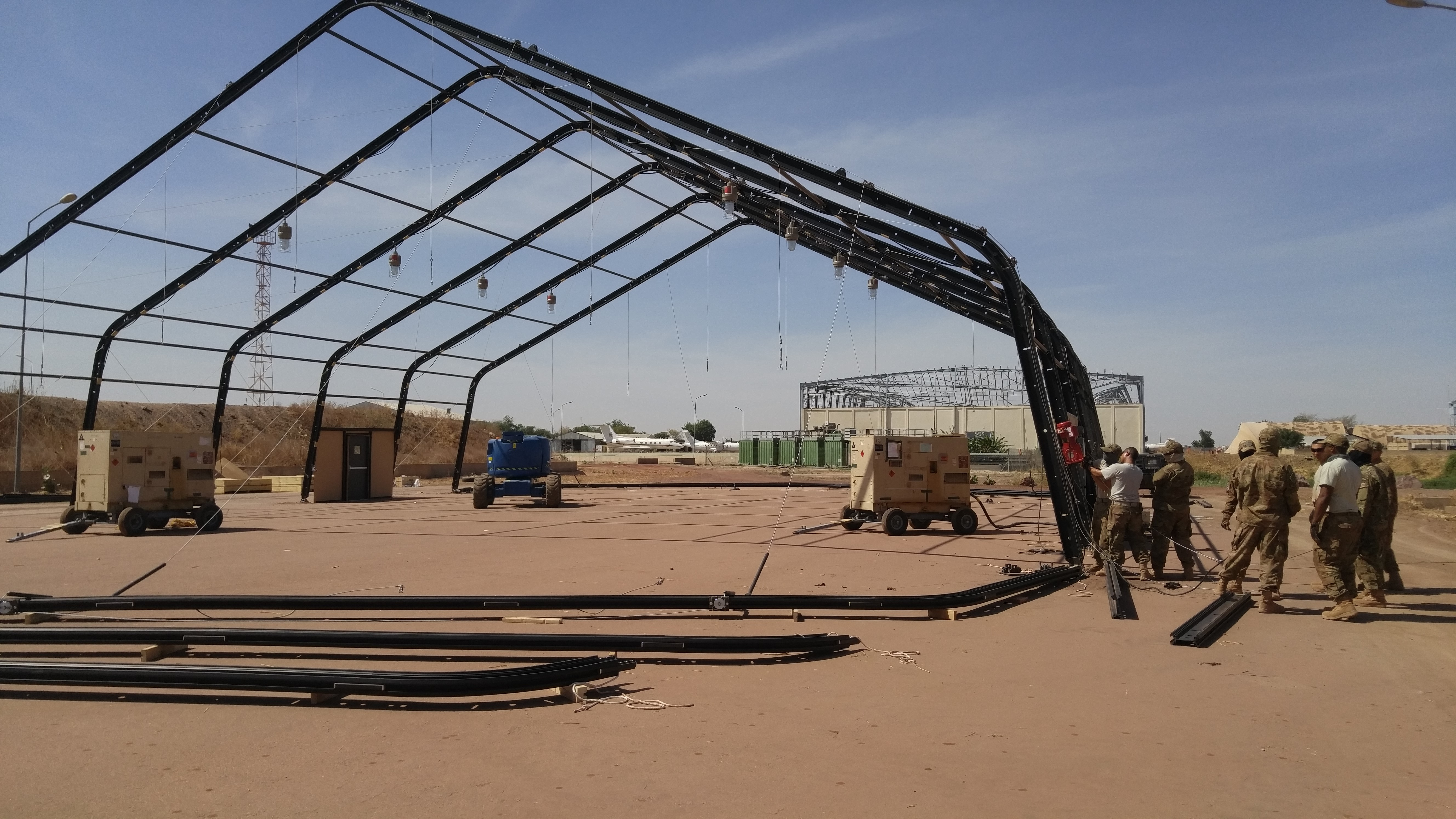 N'DJAMENA, Chad -- Airmen from 635th Material Maintenance Squadron, Holloman Air Force Base deployed to N'Djamena on Jan. 7, 2018, to assist the Chadian Air Force to erect providing aircraft maintenance shelters and maintenance training for their critical aircraft. This effort was initiated due to a large-scale wind storm last summer that destroyed many aircraft and maintenance shelters located in the main airfield in N'Djamena. (U.S. Air Force photo)